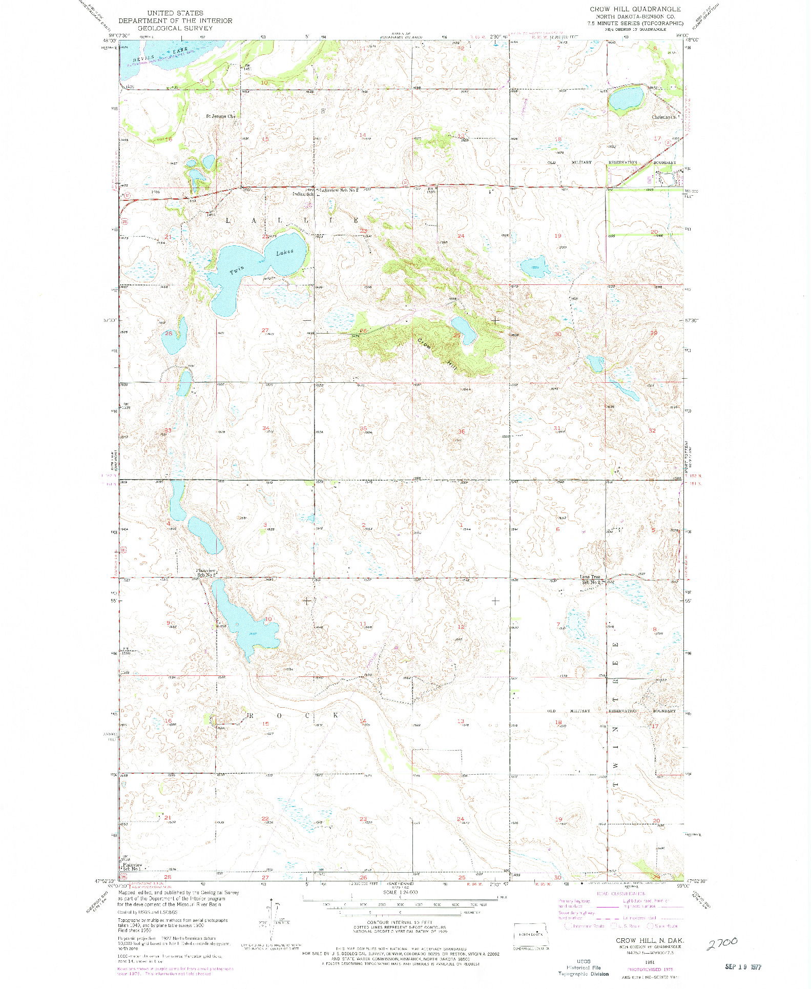 USGS 1:24000-SCALE QUADRANGLE FOR CROW HILL, ND 1951