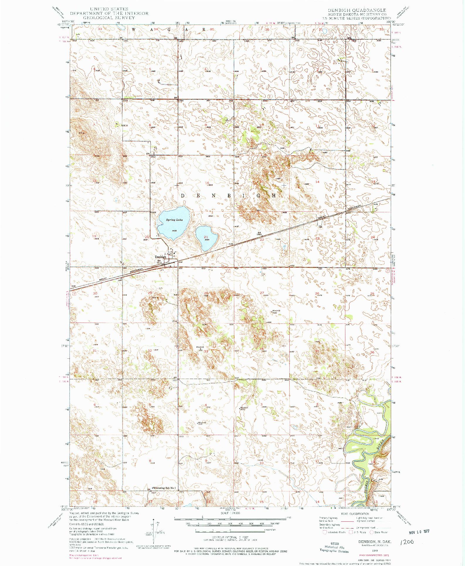 USGS 1:24000-SCALE QUADRANGLE FOR DENBIGH, ND 1949