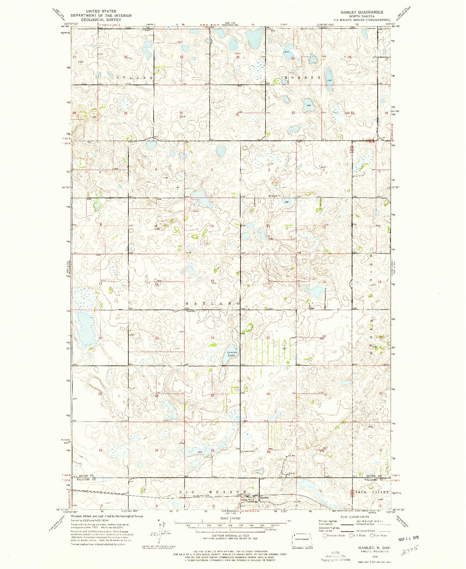 USGS 1:24000-SCALE QUADRANGLE FOR HAMLET, ND 1974