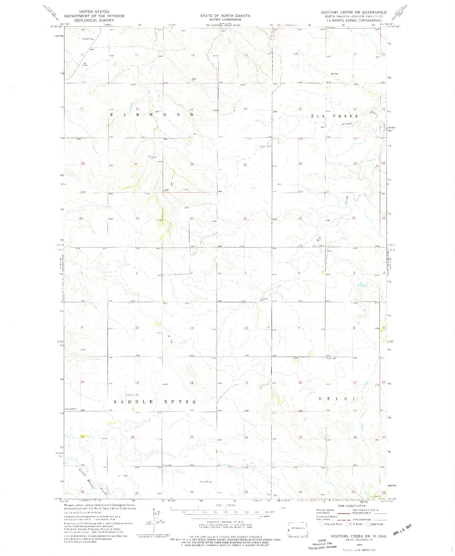 USGS 1:24000-SCALE QUADRANGLE FOR HOOTOWL CREEK SW, ND 1974