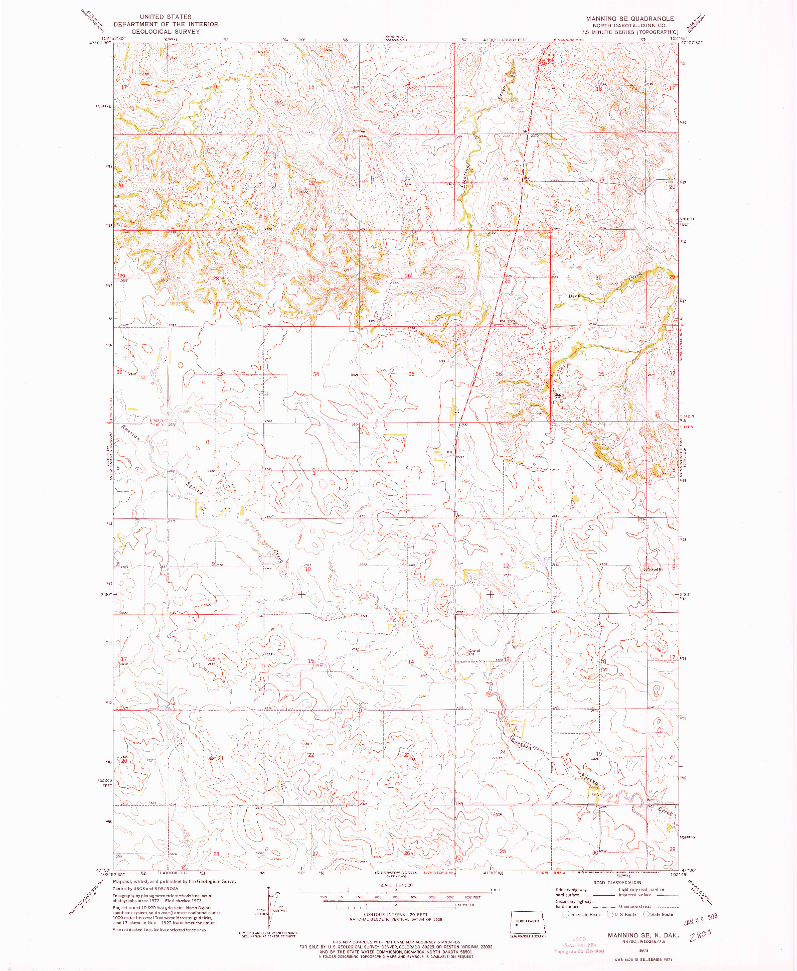 USGS 1:24000-SCALE QUADRANGLE FOR MANNING SE, ND 1973