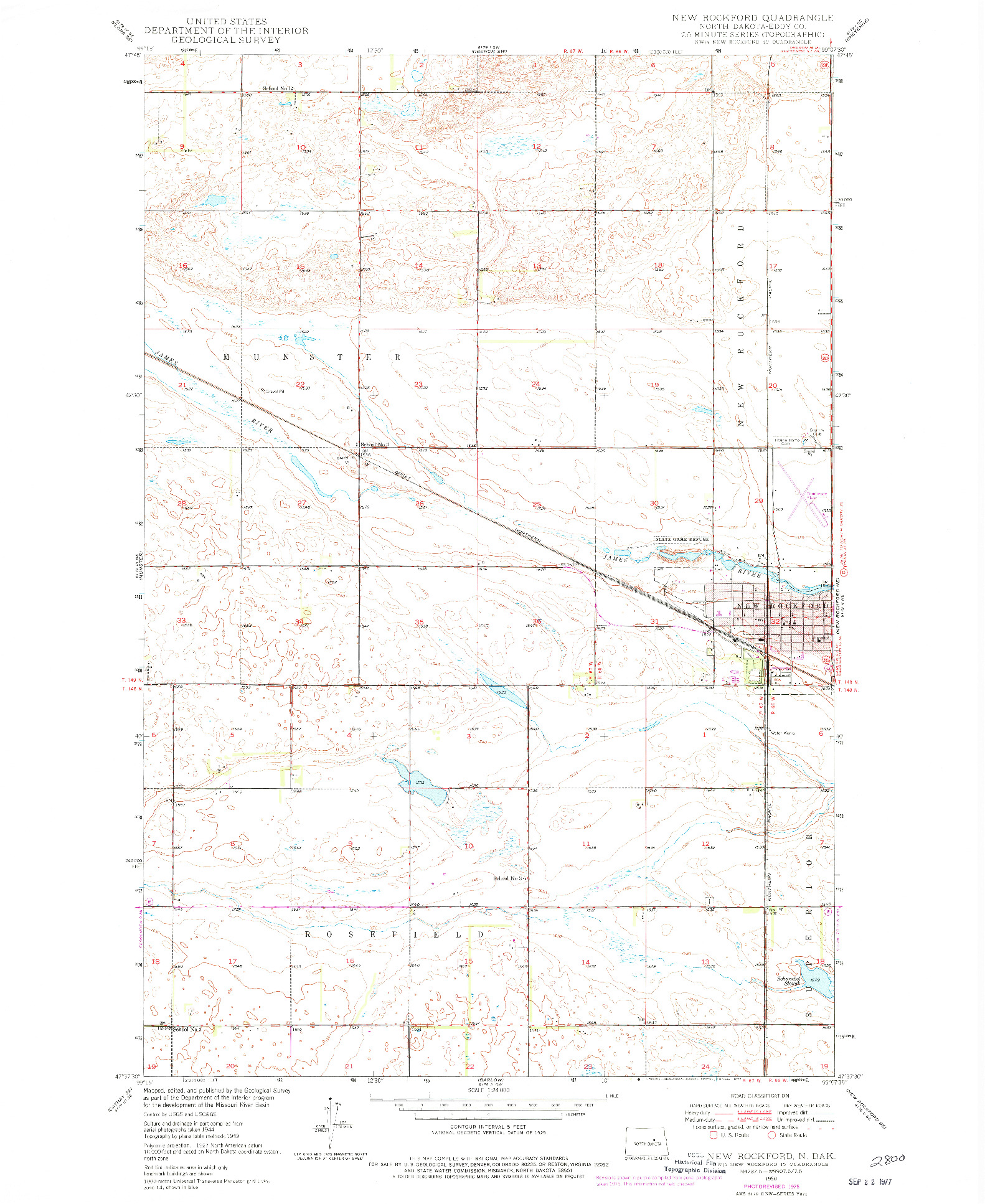 USGS 1:24000-SCALE QUADRANGLE FOR NEW ROCKFORD, ND 1950