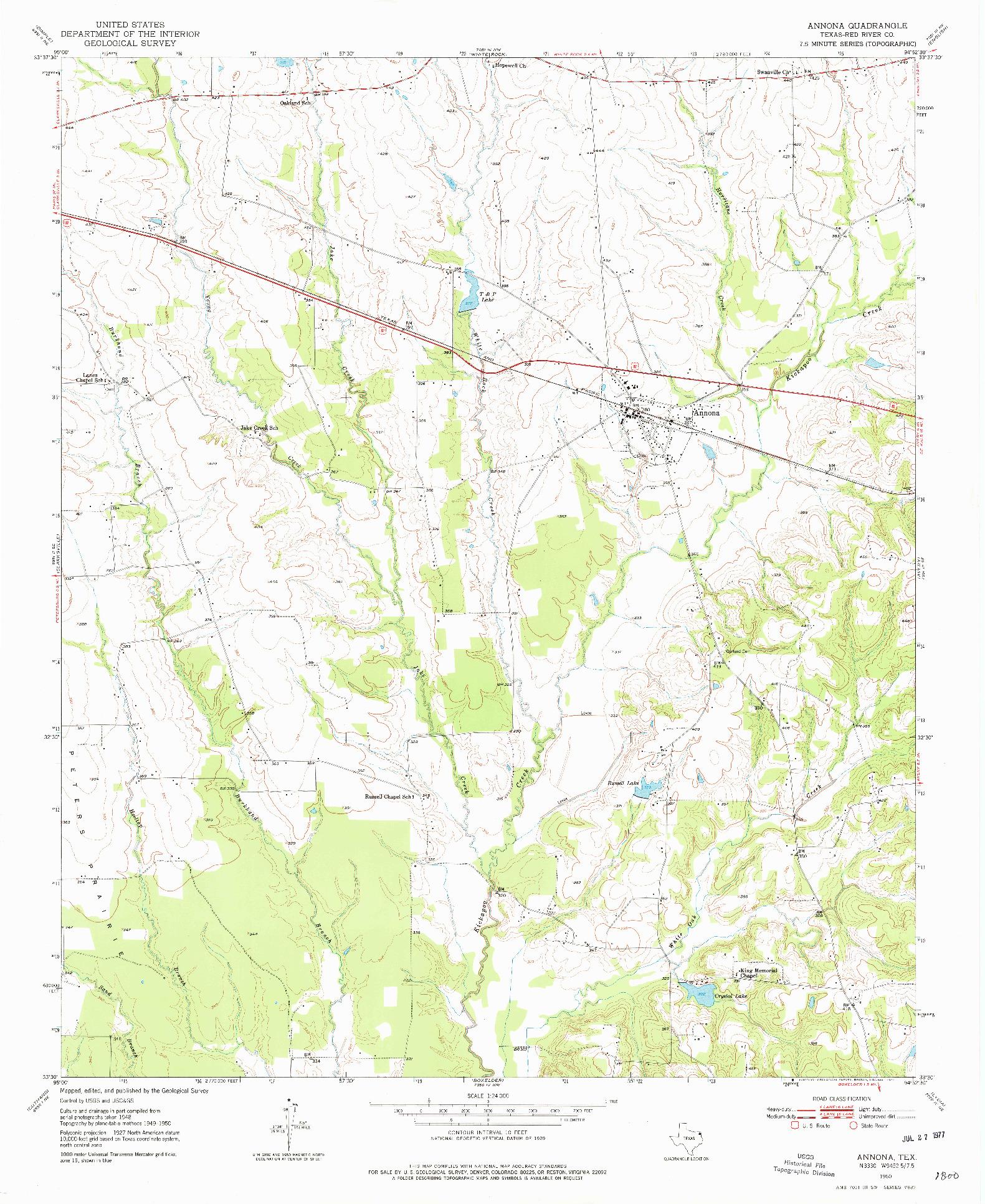 USGS 1:24000-SCALE QUADRANGLE FOR ANNONA, TX 1950