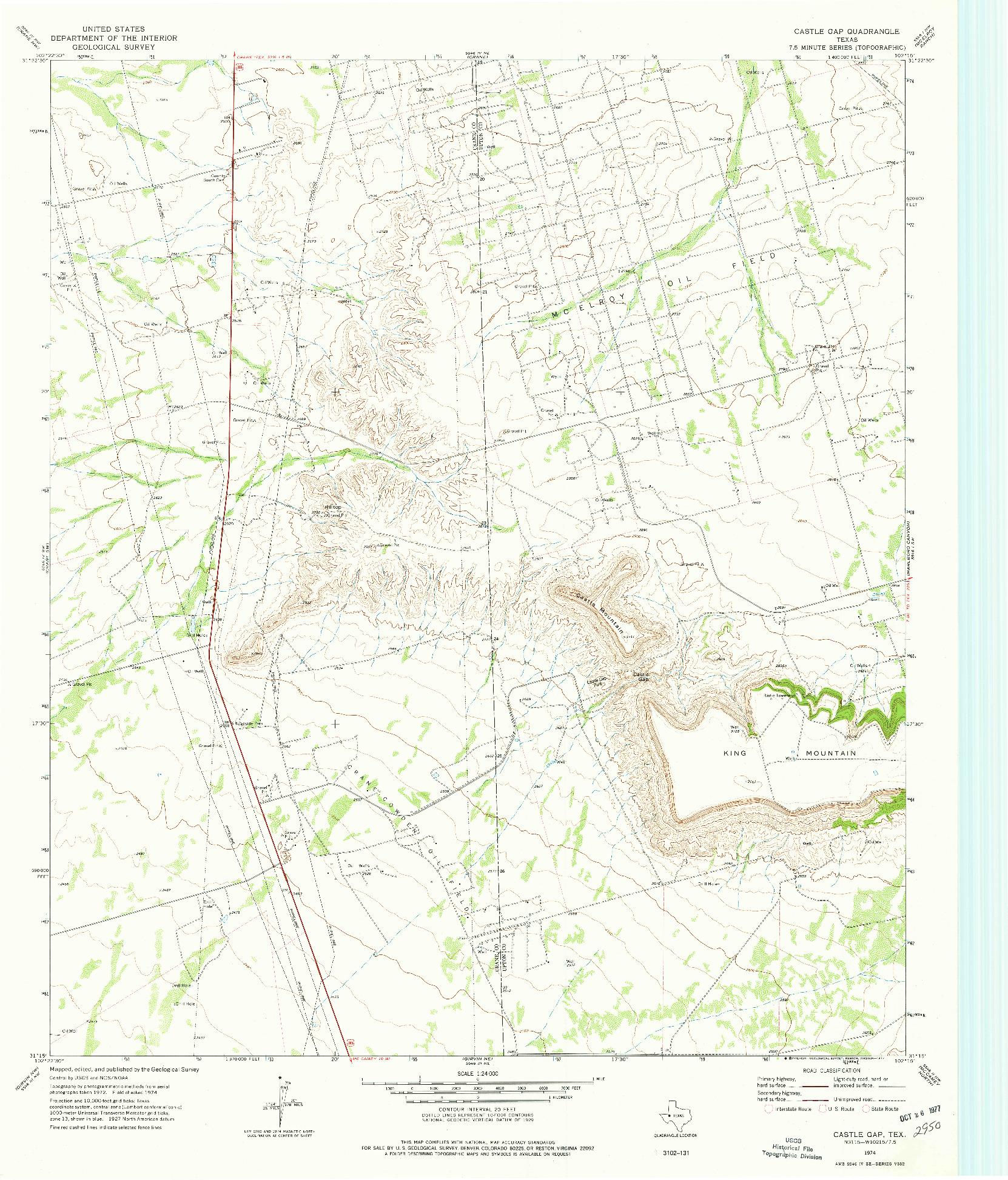USGS 1:24000-SCALE QUADRANGLE FOR CASTLE GAP, TX 1974