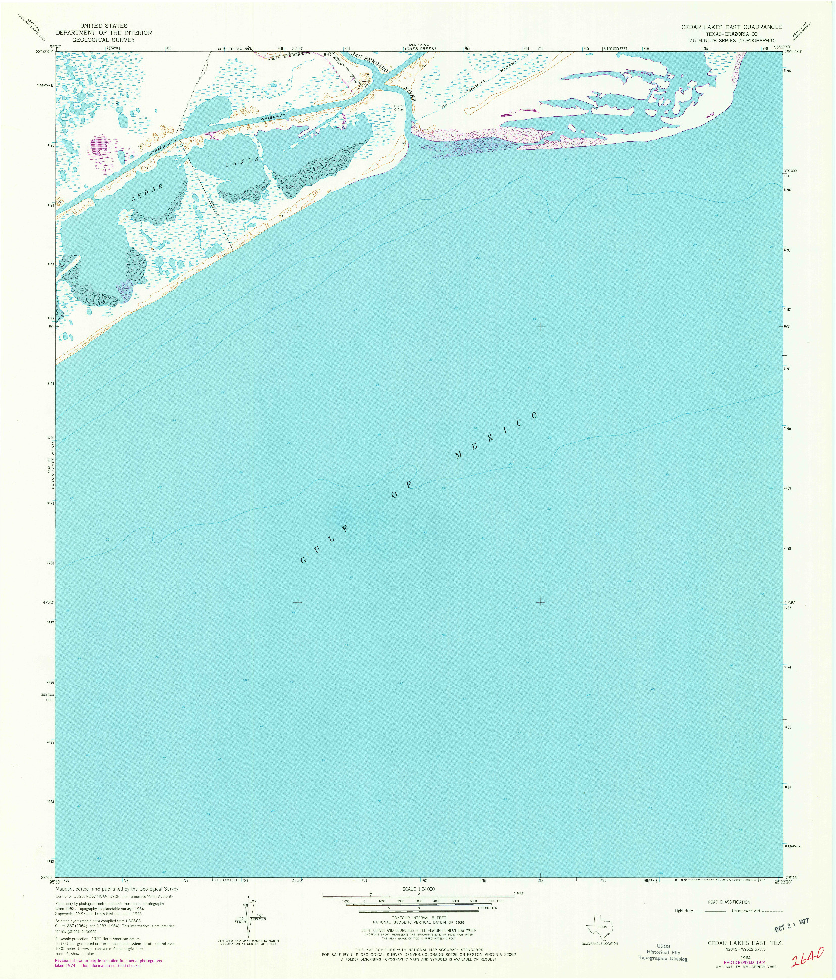 USGS 1:24000-SCALE QUADRANGLE FOR CEDAR LAKES EAST, TX 1964