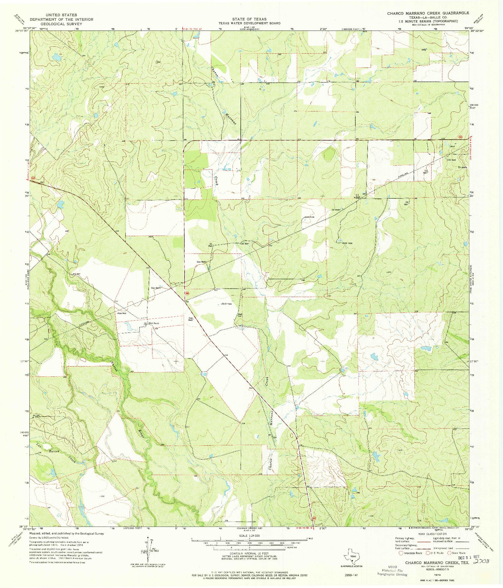 USGS 1:24000-SCALE QUADRANGLE FOR CHARCO MARRANO CREEK, TX 1974