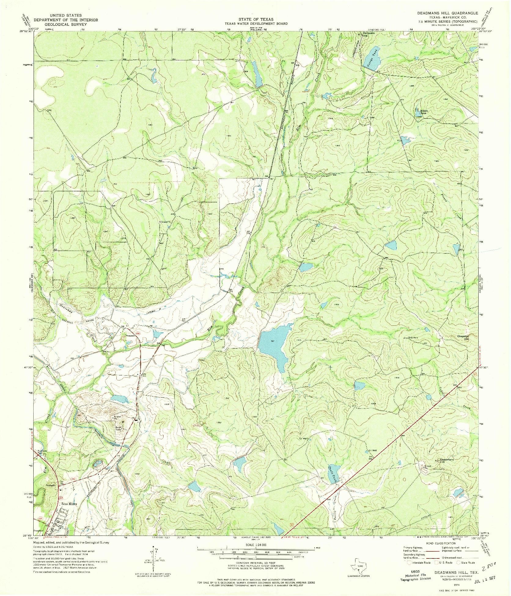 USGS 1:24000-SCALE QUADRANGLE FOR DEADMANS HILL, TX 1974