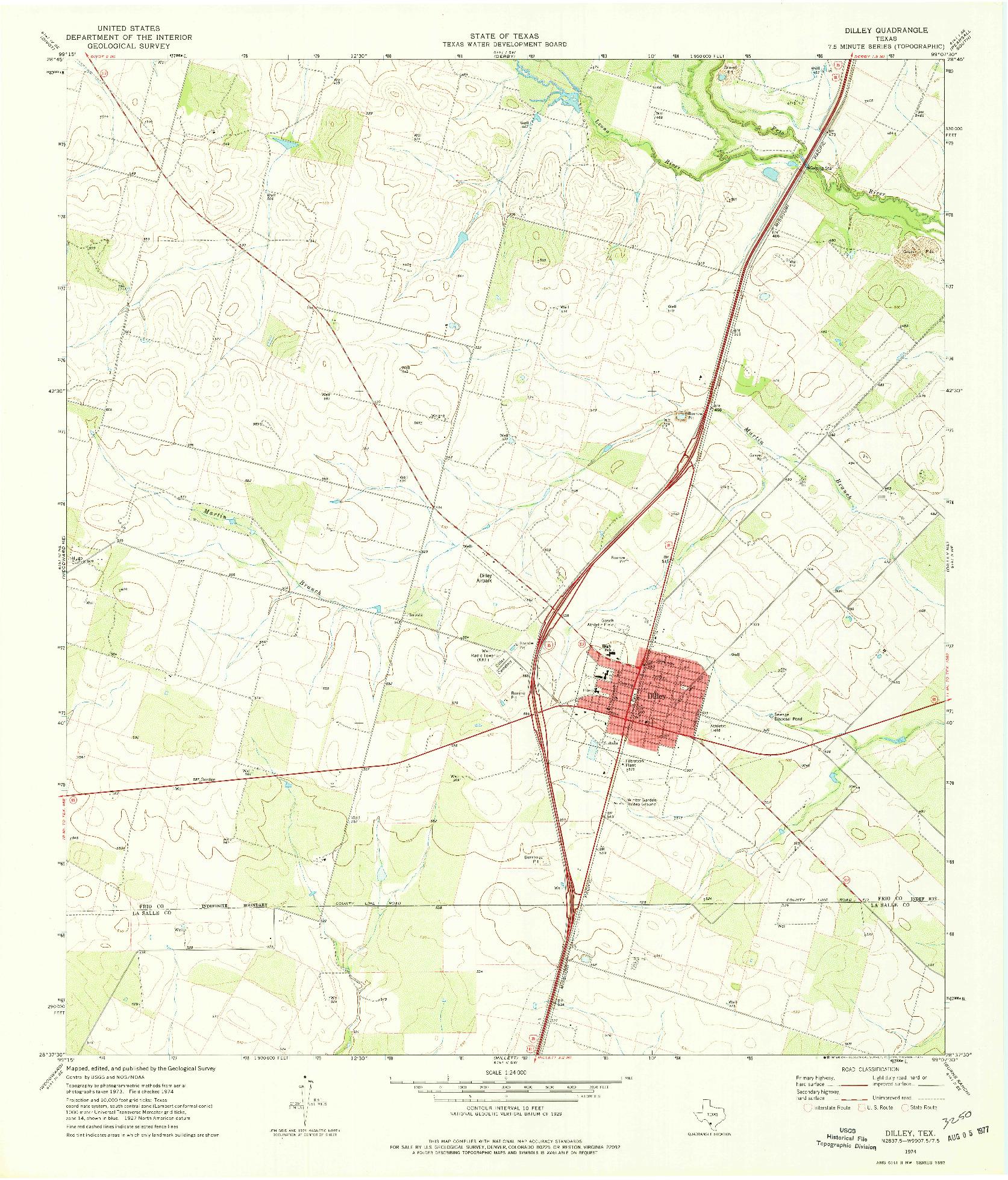 USGS 1:24000-SCALE QUADRANGLE FOR DILLEY, TX 1974