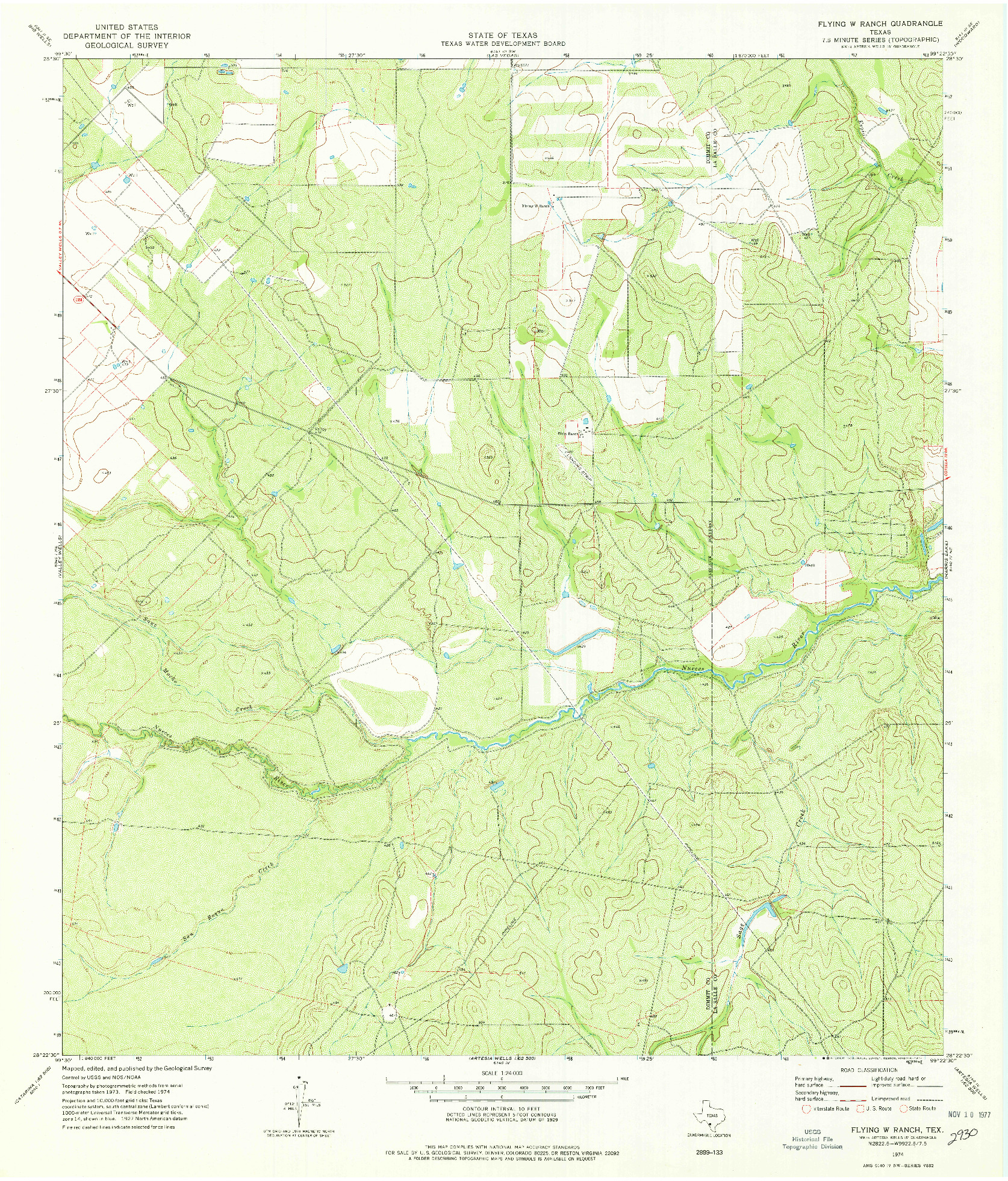 USGS 1:24000-SCALE QUADRANGLE FOR FLYING W RANCH, TX 1974