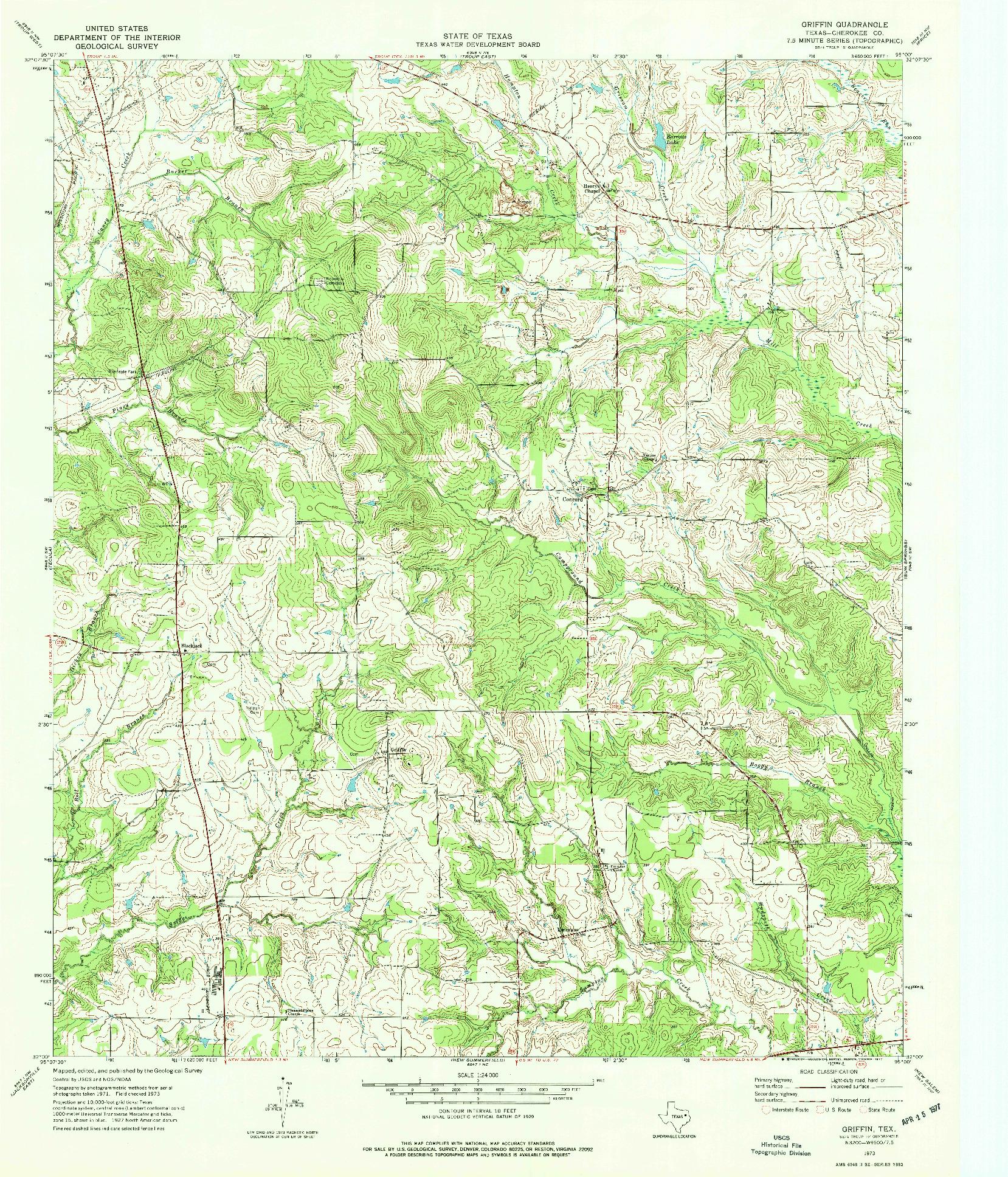USGS 1:24000-SCALE QUADRANGLE FOR GRIFFIN, TX 1973