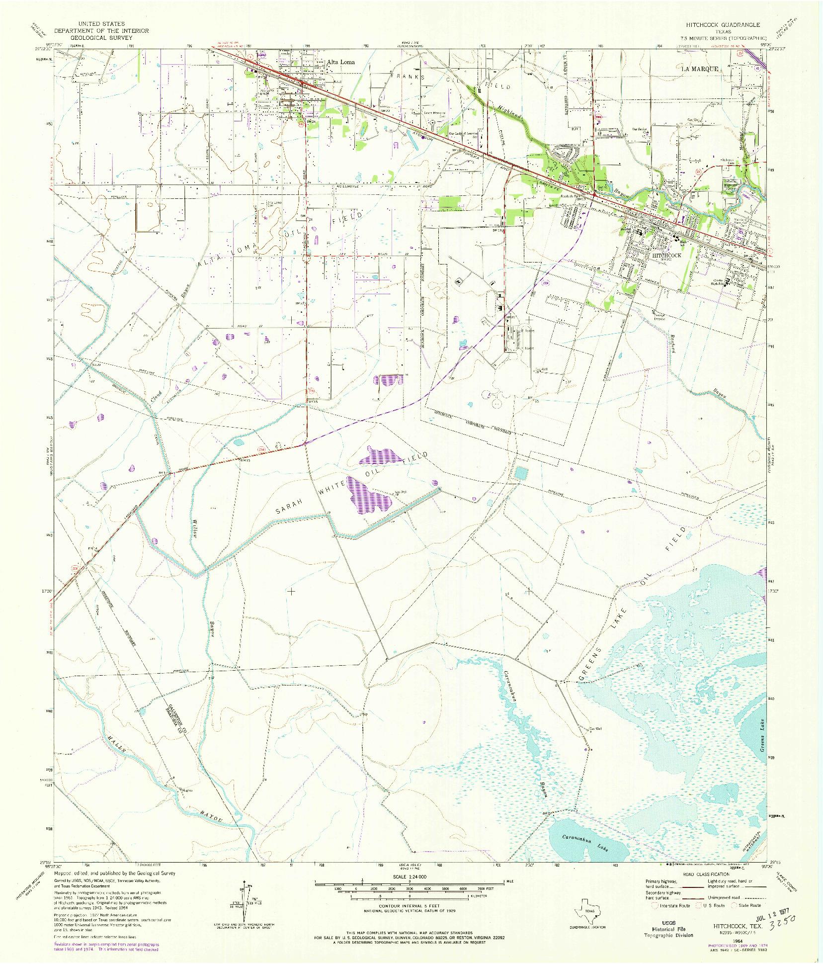 USGS 1:24000-SCALE QUADRANGLE FOR HITCHCOCK, TX 1964