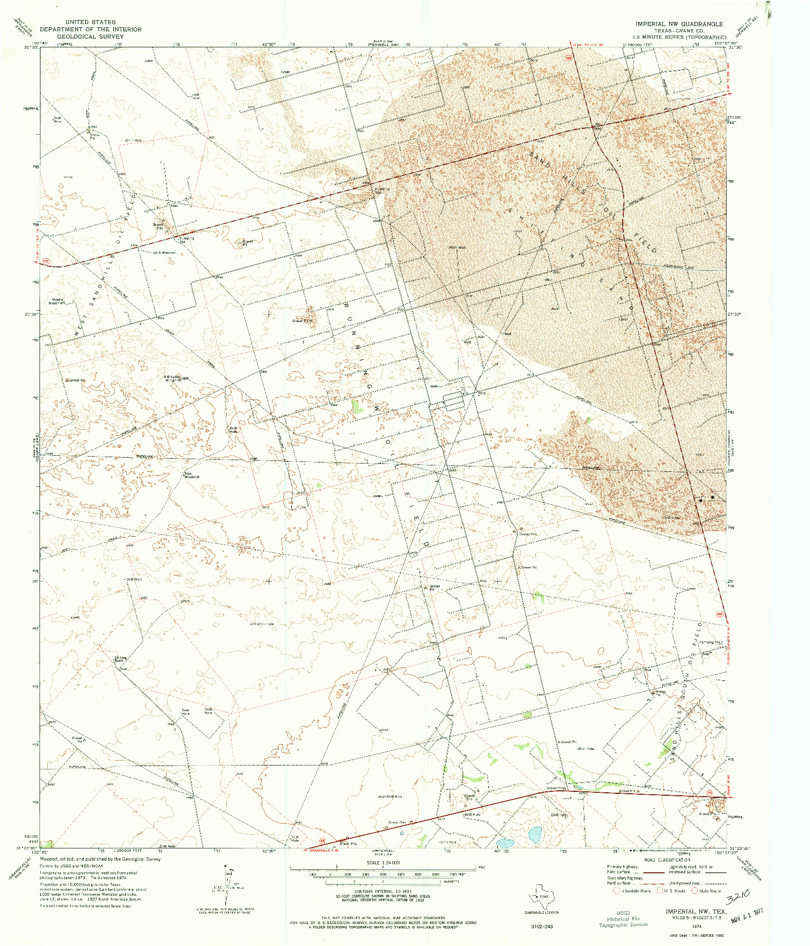 USGS 1:24000-SCALE QUADRANGLE FOR IMPERIAL NW, TX 1974