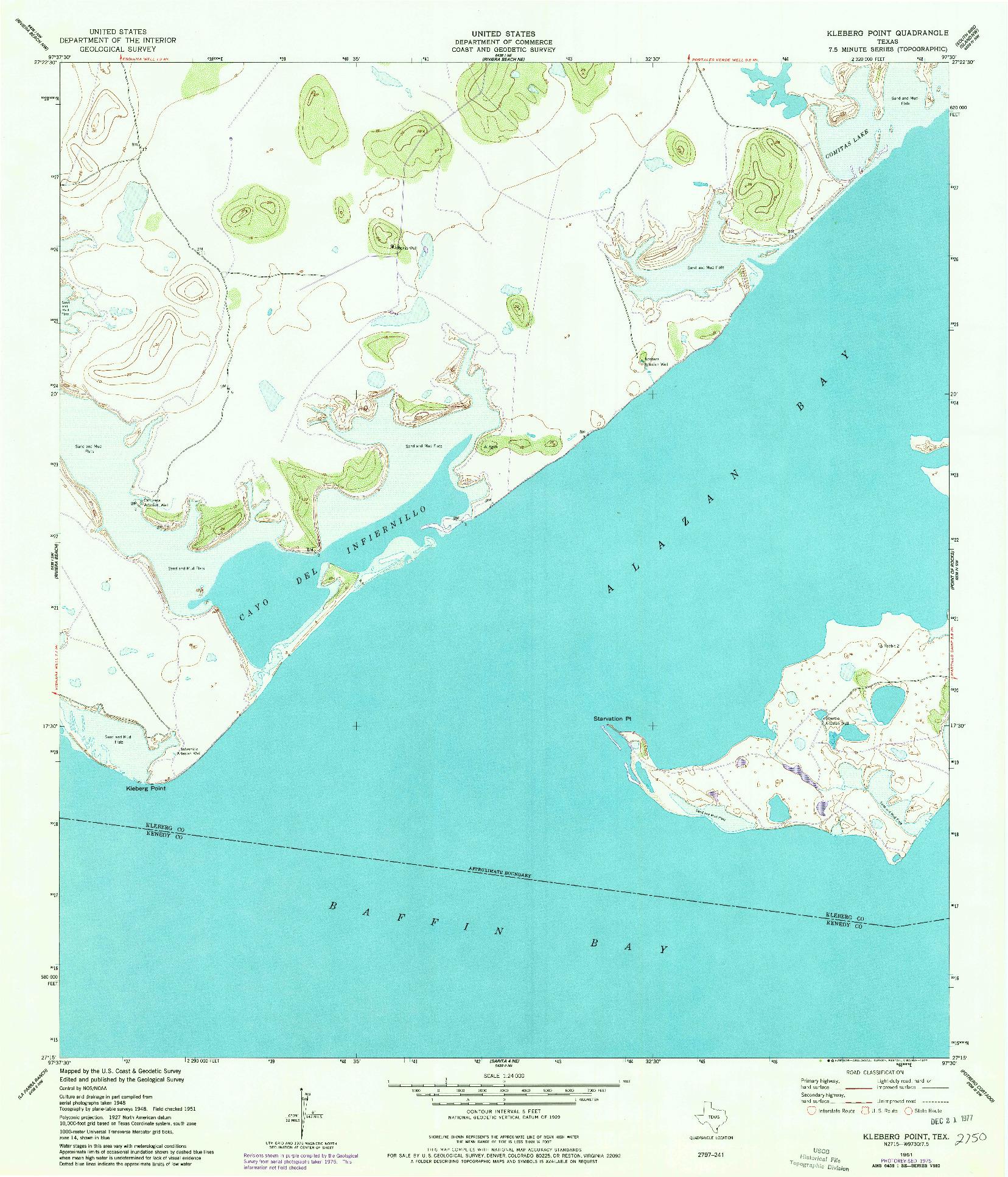 USGS 1:24000-SCALE QUADRANGLE FOR KLEBERG POINT, TX 1951