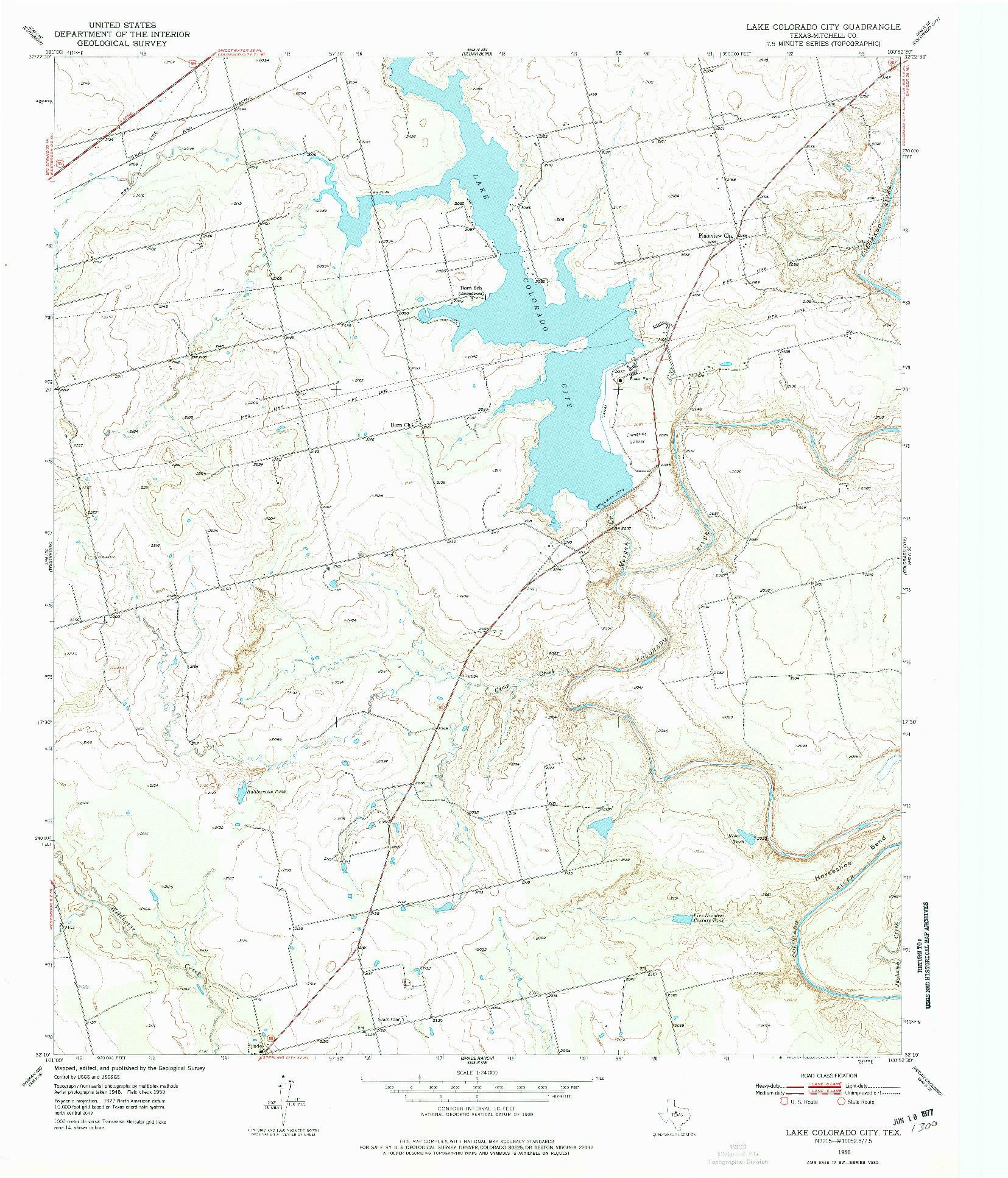 USGS 1:24000-SCALE QUADRANGLE FOR LAKE COLORADO CITY, TX 1950