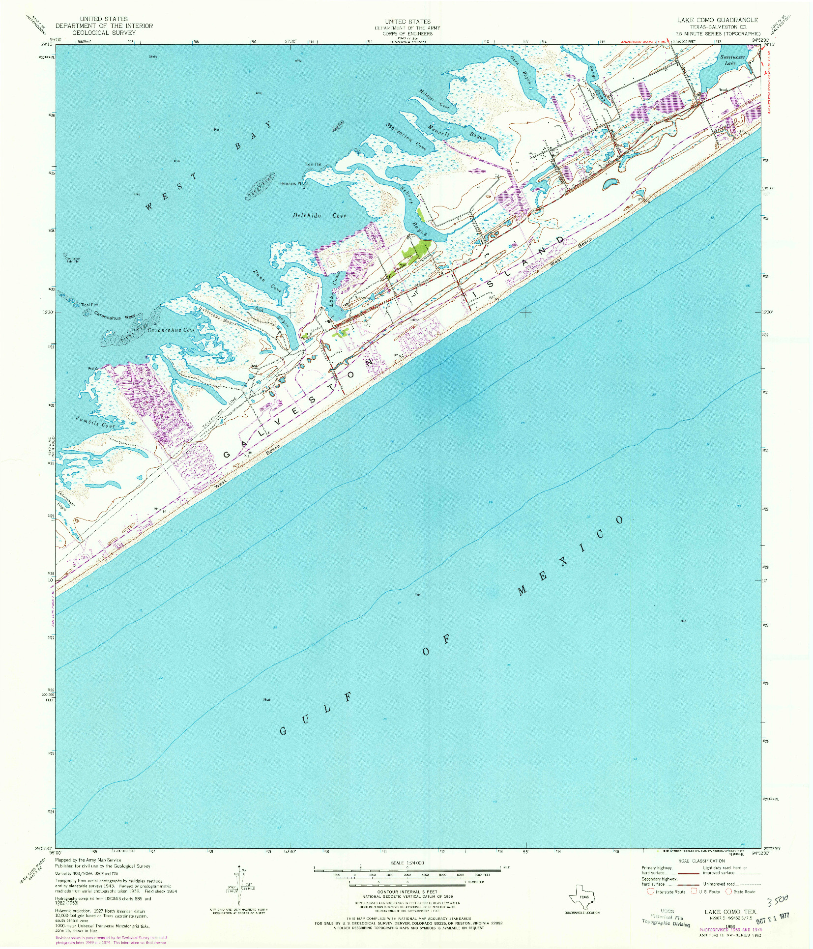 USGS 1:24000-SCALE QUADRANGLE FOR LAKE COMO, TX 1954