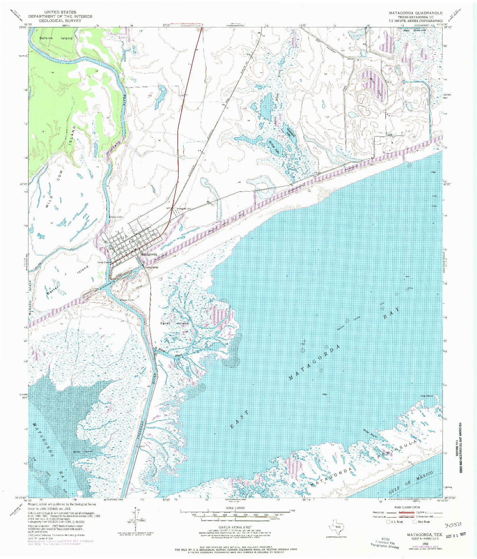 USGS 1:24000-SCALE QUADRANGLE FOR MATAGORDA, TX 1952