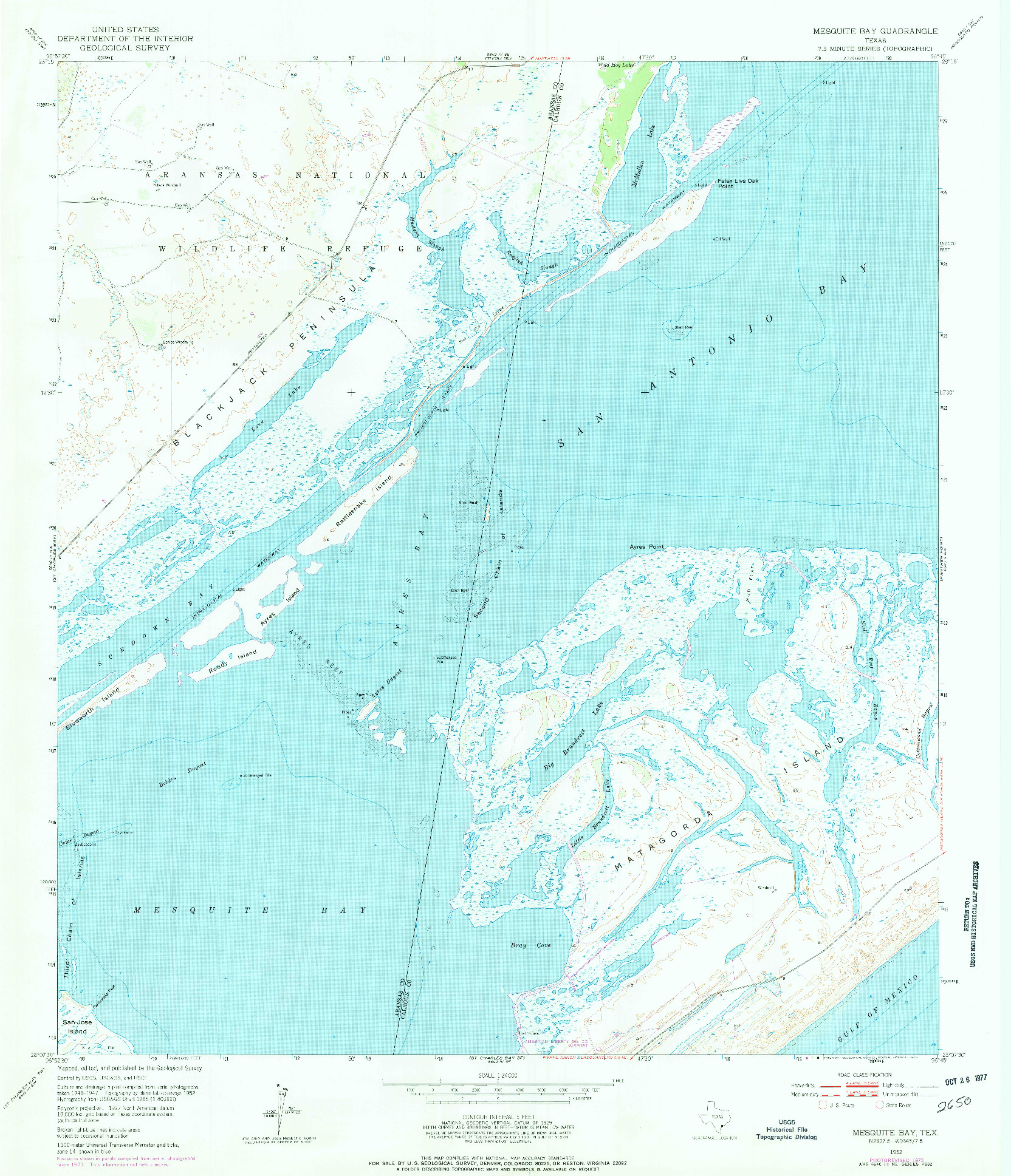 USGS 1:24000-SCALE QUADRANGLE FOR MESQUITE BAY, TX 1952