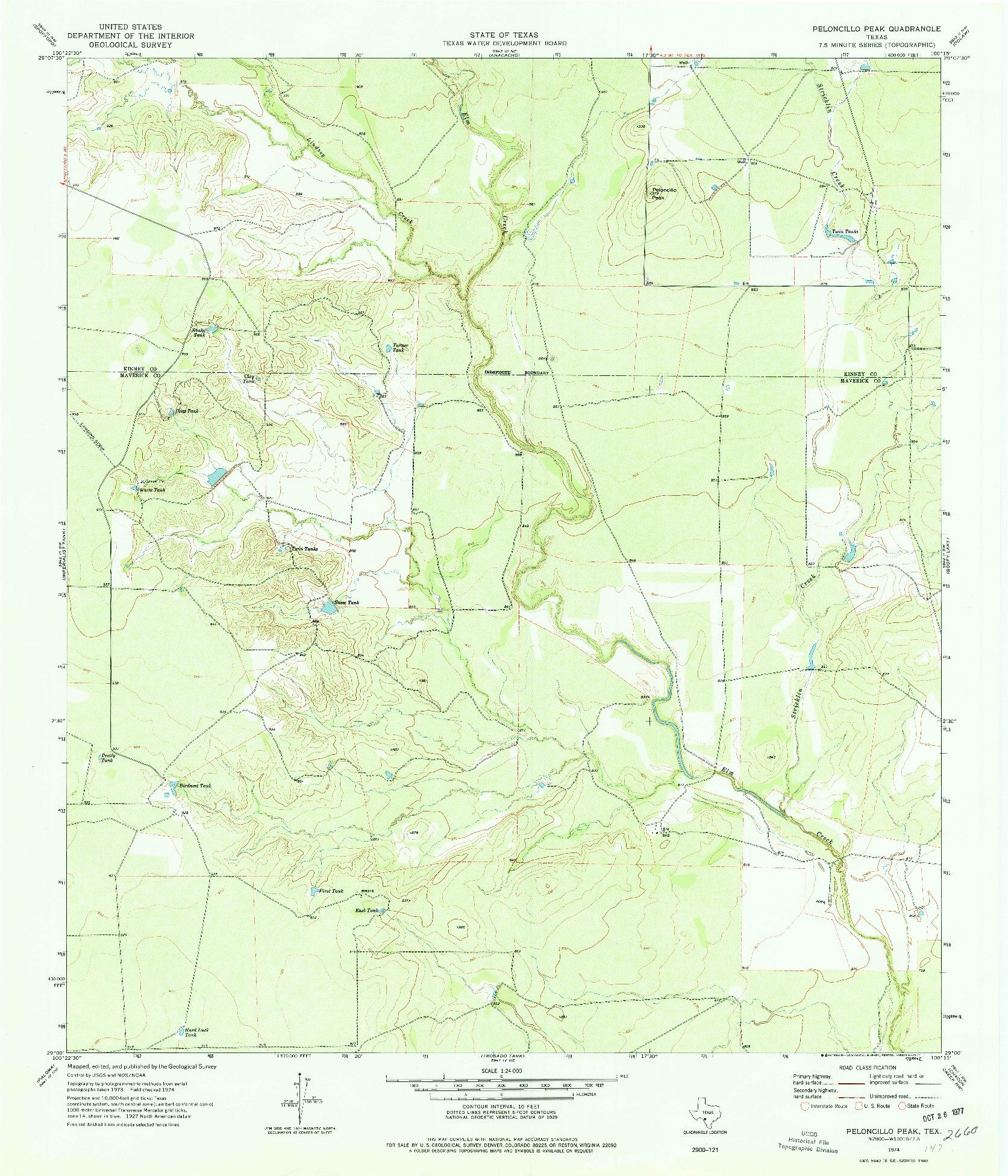 USGS 1:24000-SCALE QUADRANGLE FOR PELONCILLO PEAK, TX 1974