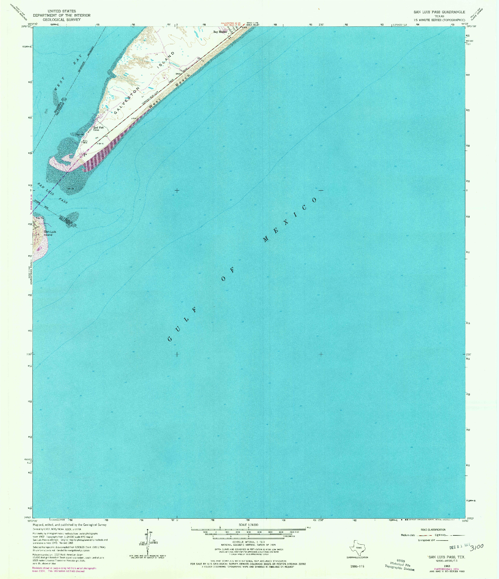 USGS 1:24000-SCALE QUADRANGLE FOR SAN LUIS PASS, TX 1963