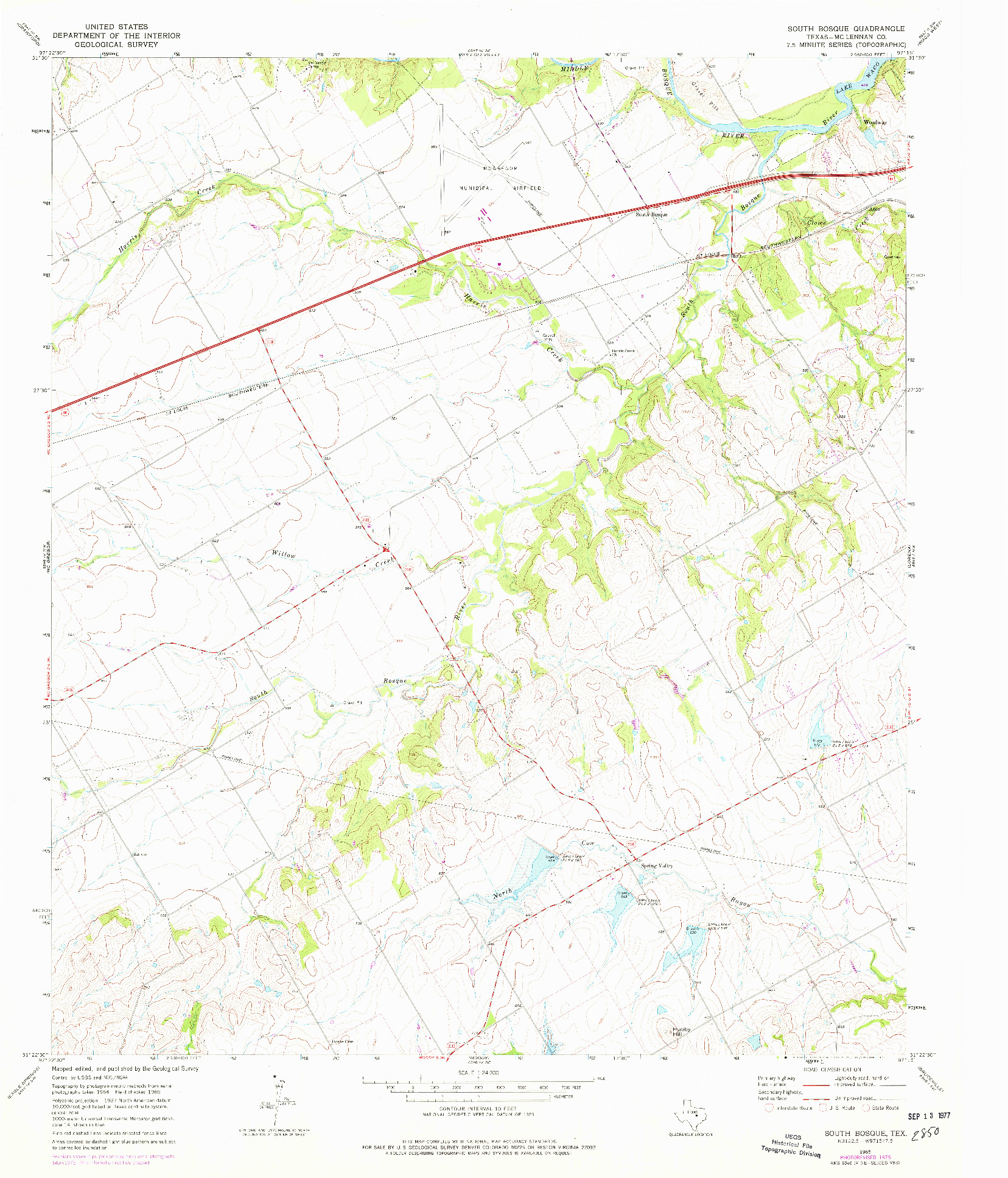 USGS 1:24000-SCALE QUADRANGLE FOR SOUTH BOSQUE, TX 1965