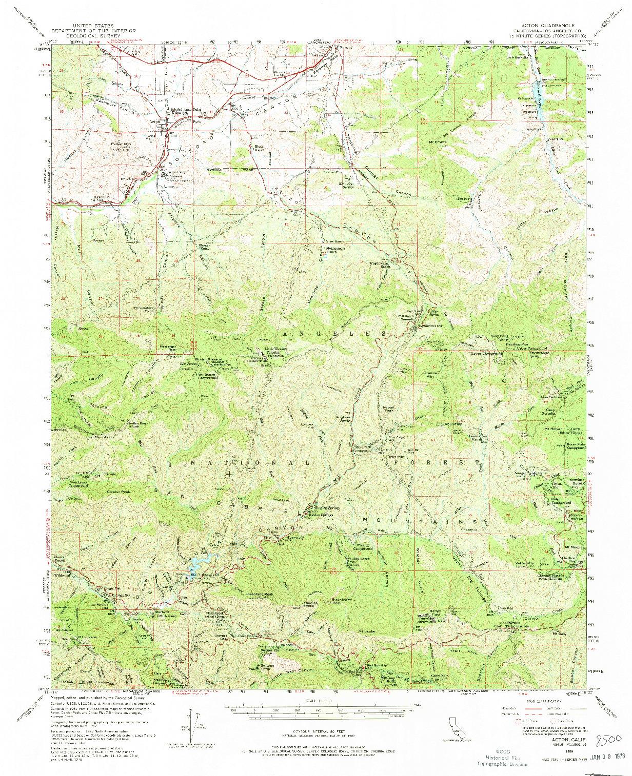 USGS 1:62500-SCALE QUADRANGLE FOR ACTON, CA 1959