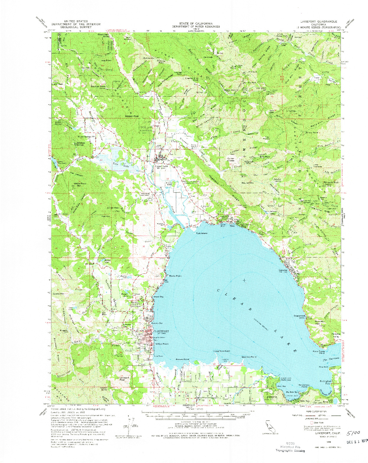 USGS 1:62500-SCALE QUADRANGLE FOR LAKEPORT, CA 1958