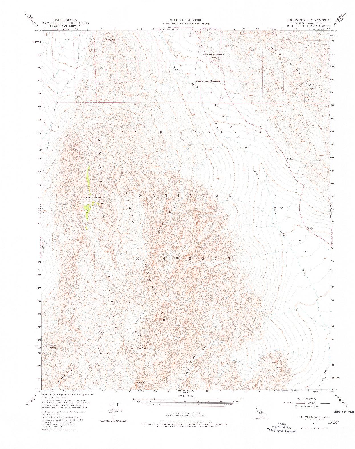 USGS 1:62500-SCALE QUADRANGLE FOR TIN MOUNTAIN, CA 1957