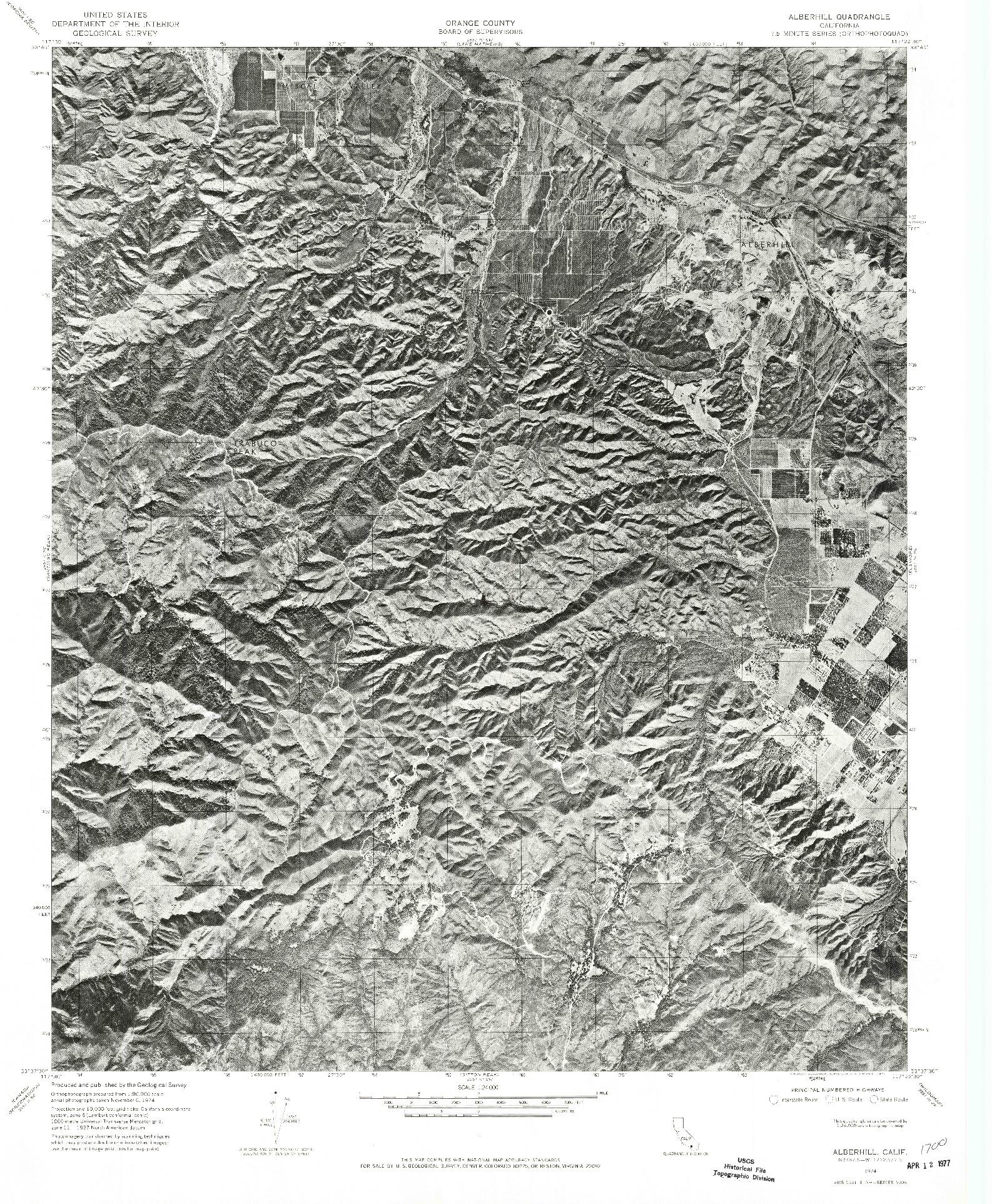 USGS 1:24000-SCALE QUADRANGLE FOR ALBERHILL, CA 1974