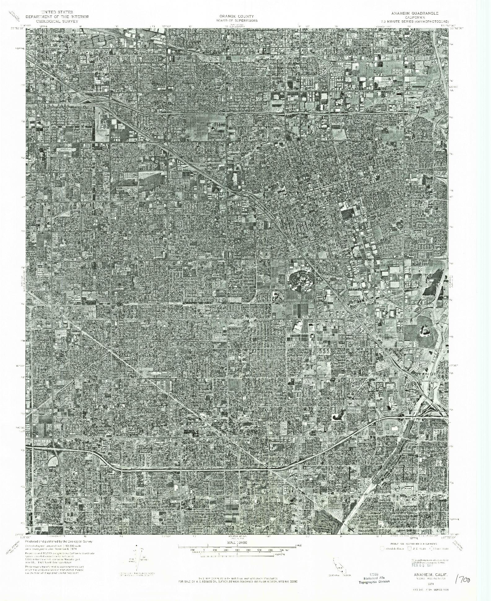 USGS 1:24000-SCALE QUADRANGLE FOR ANAHEIM, CA 1974