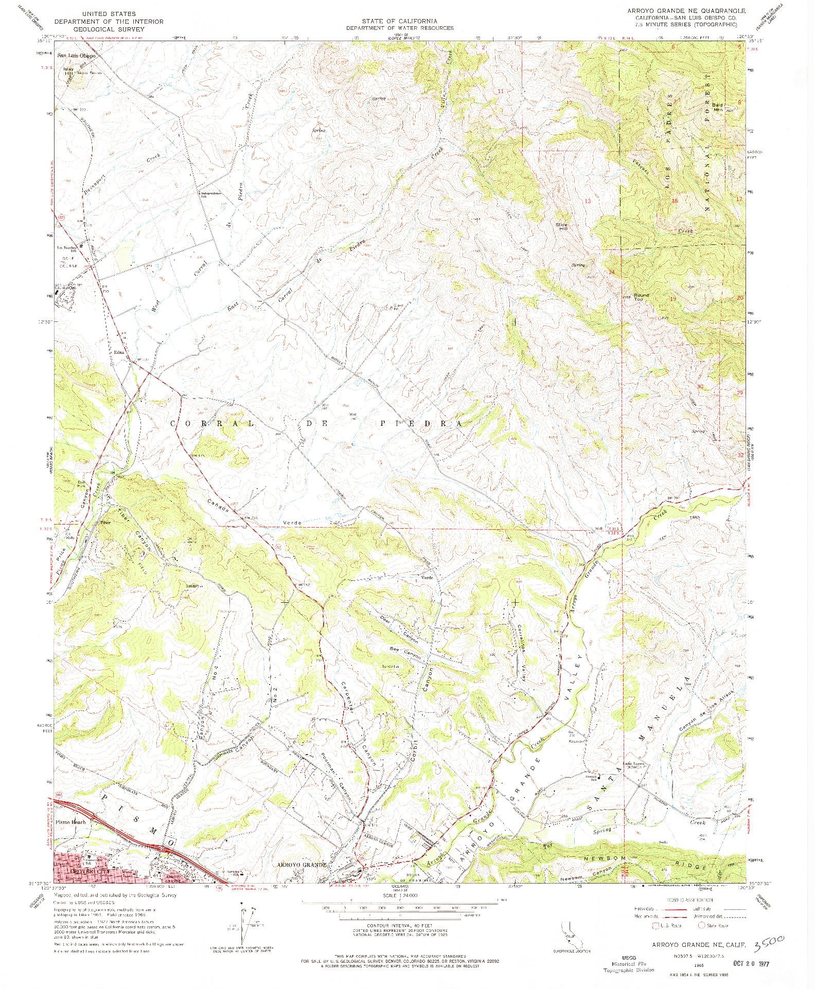 USGS 1:24000-SCALE QUADRANGLE FOR ARROYO GRANDE NE, CA 1965