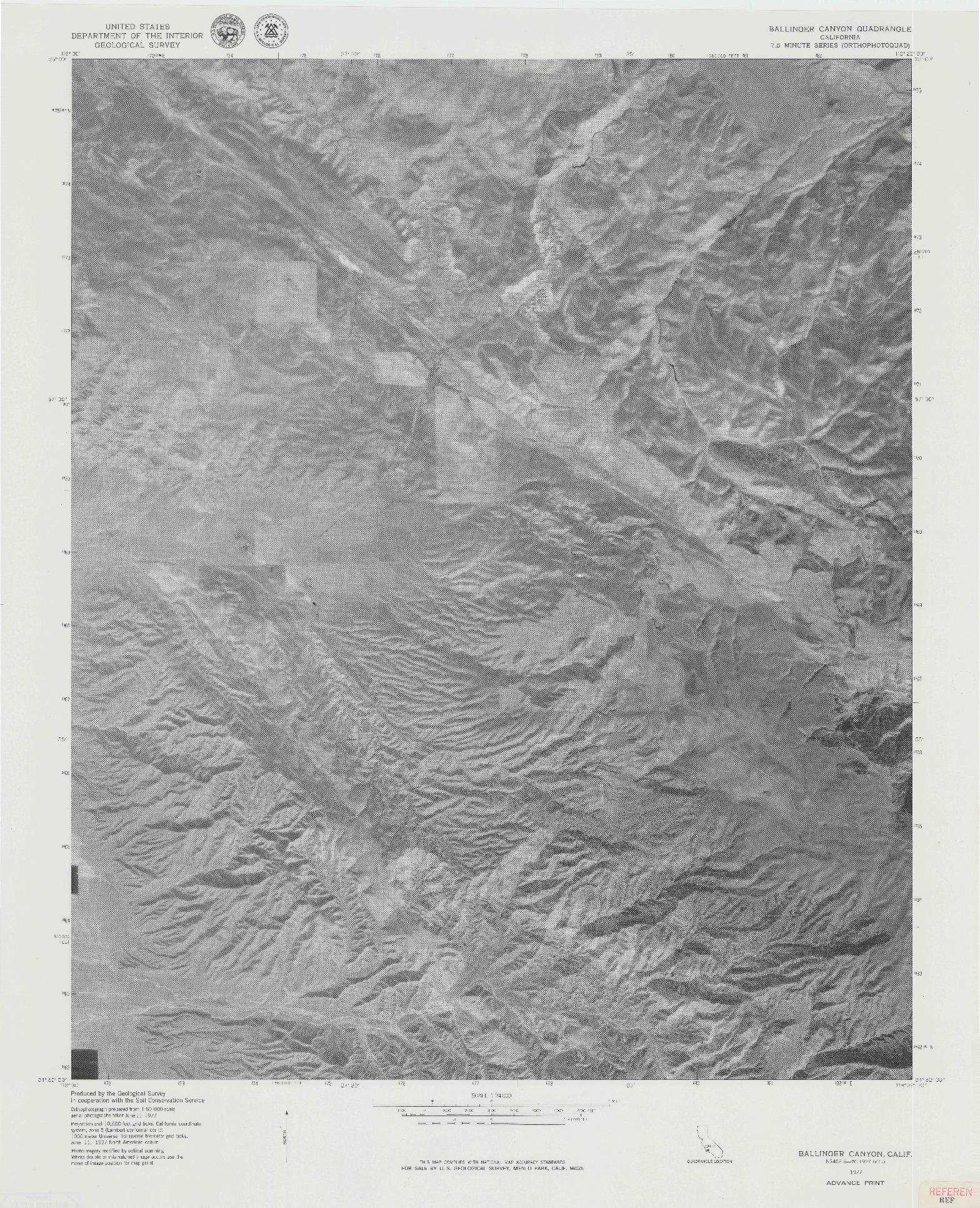 USGS 1:24000-SCALE QUADRANGLE FOR BALLINGER CANYON, CA 1977