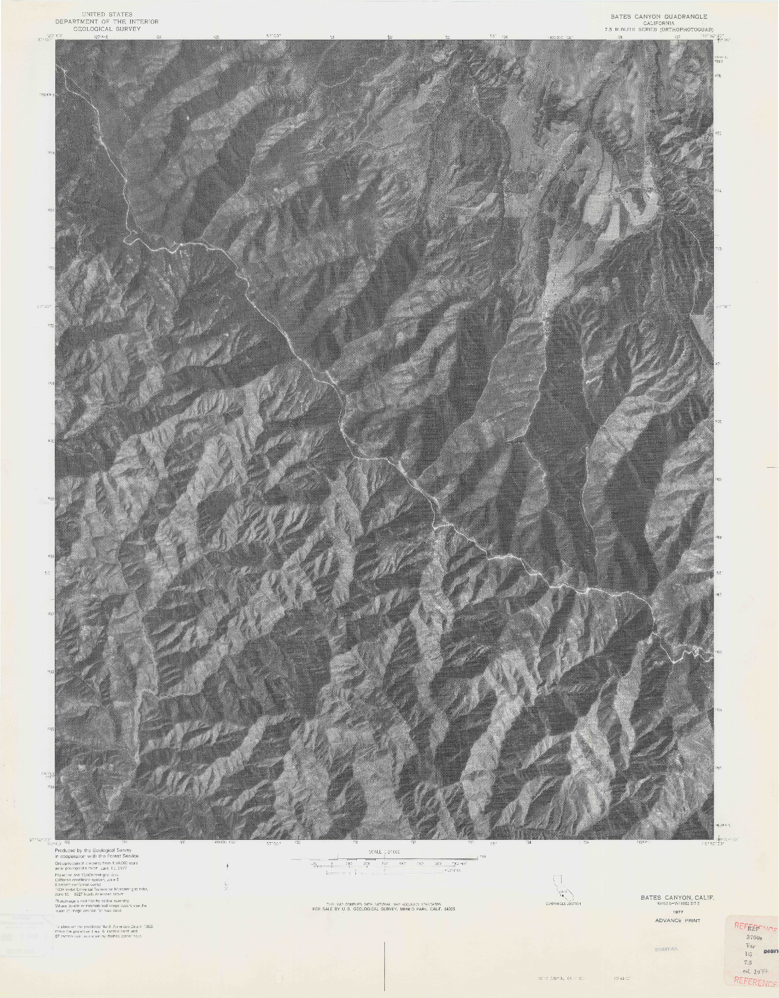 USGS 1:24000-SCALE QUADRANGLE FOR BATES CANYON, CA 1977