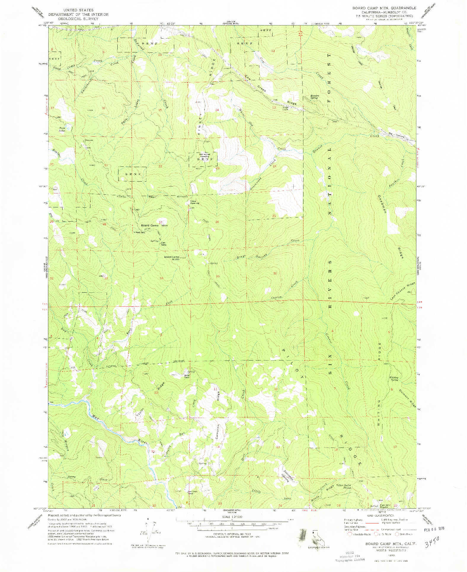 USGS 1:24000-SCALE QUADRANGLE FOR BOARD CAMP MTN, CA 1977