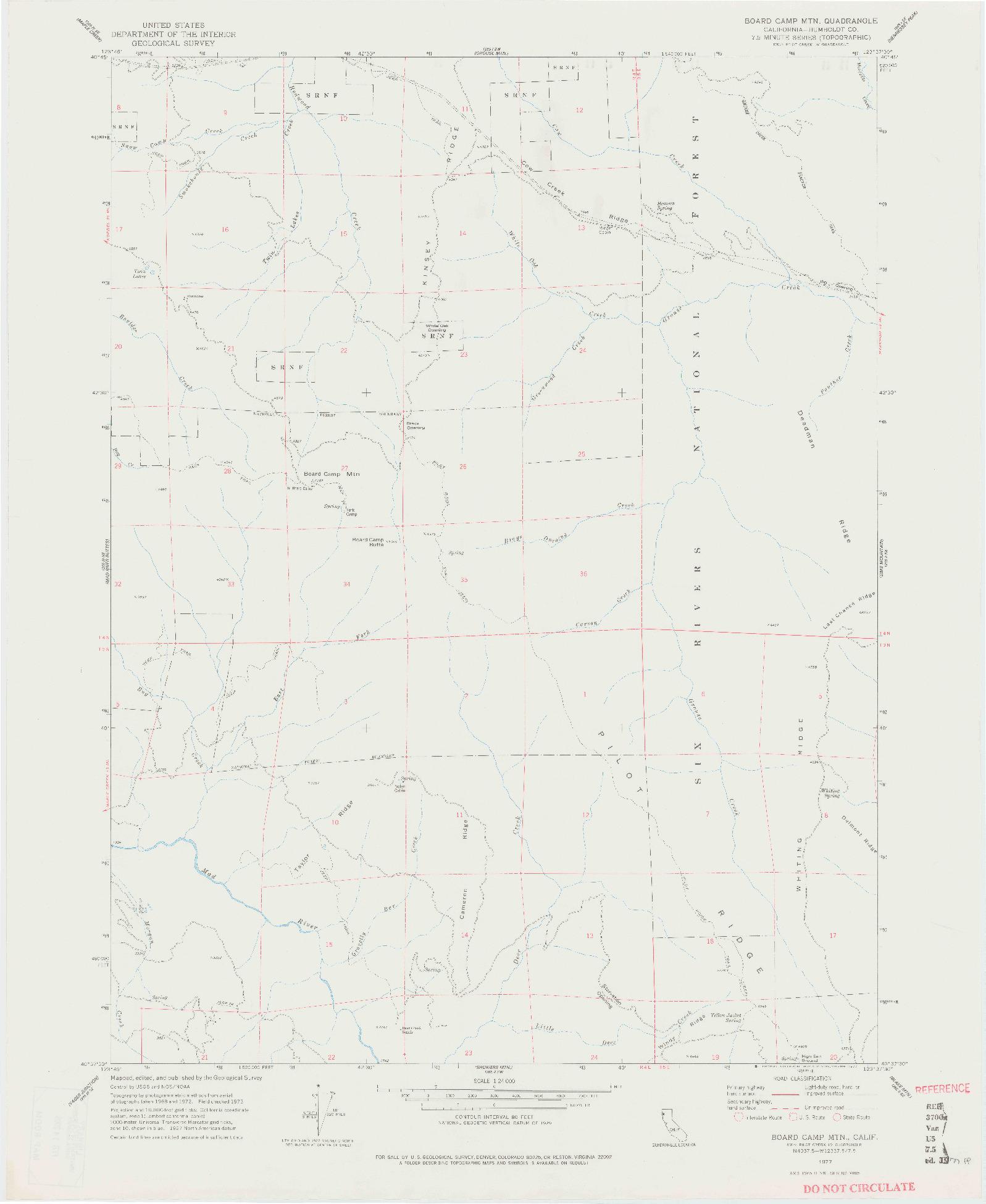 USGS 1:24000-SCALE QUADRANGLE FOR BOARD CAMP MTN, CA 1977