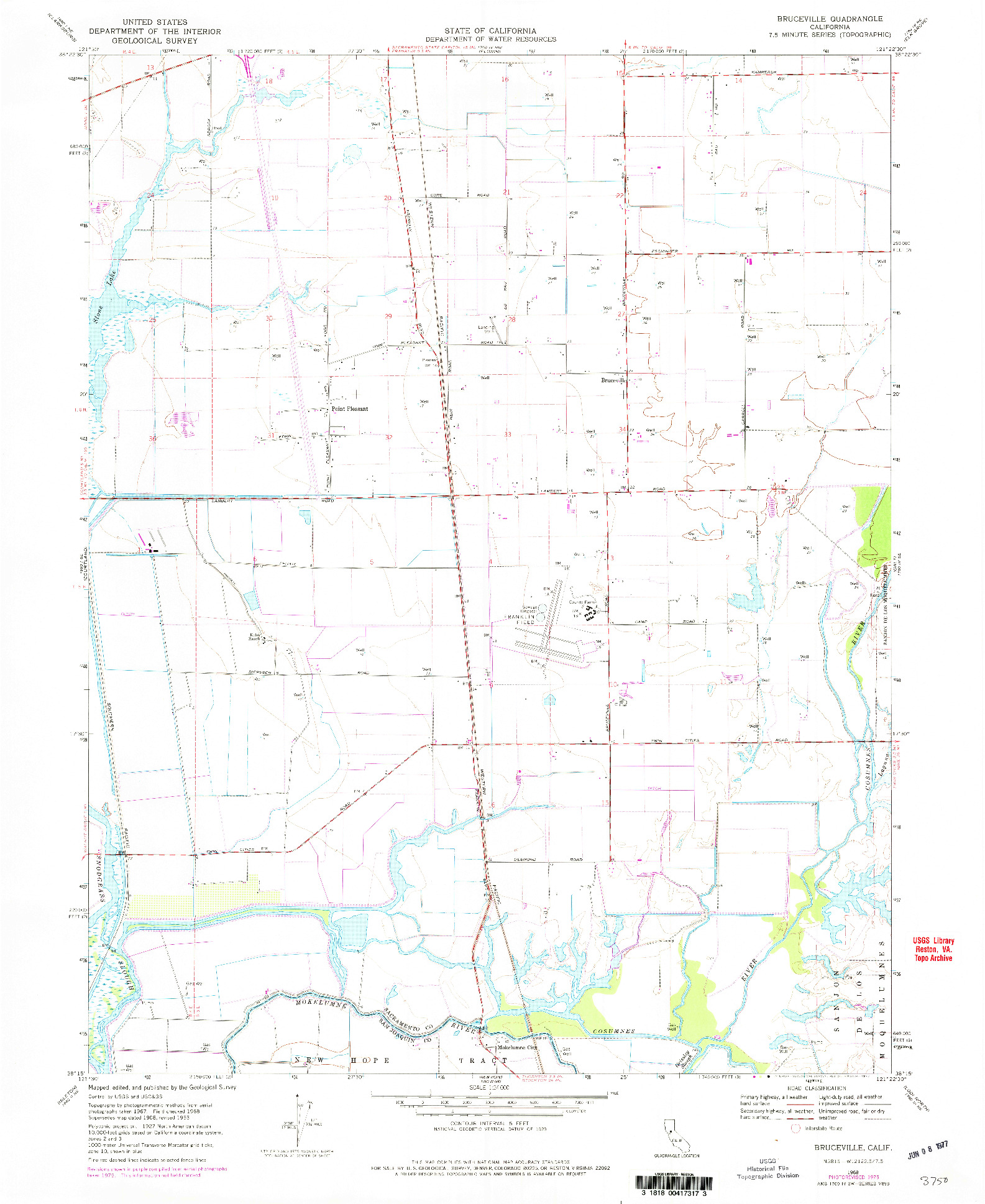 USGS 1:24000-SCALE QUADRANGLE FOR BRUCEVILLE, CA 1968