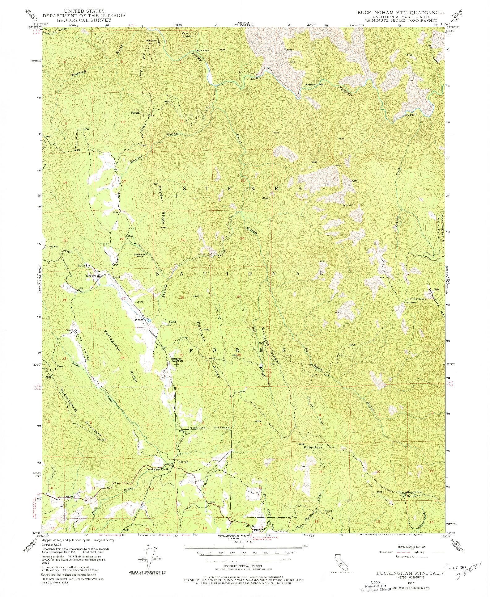 USGS 1:24000-SCALE QUADRANGLE FOR BUCKINGHAM MTN, CA 1947