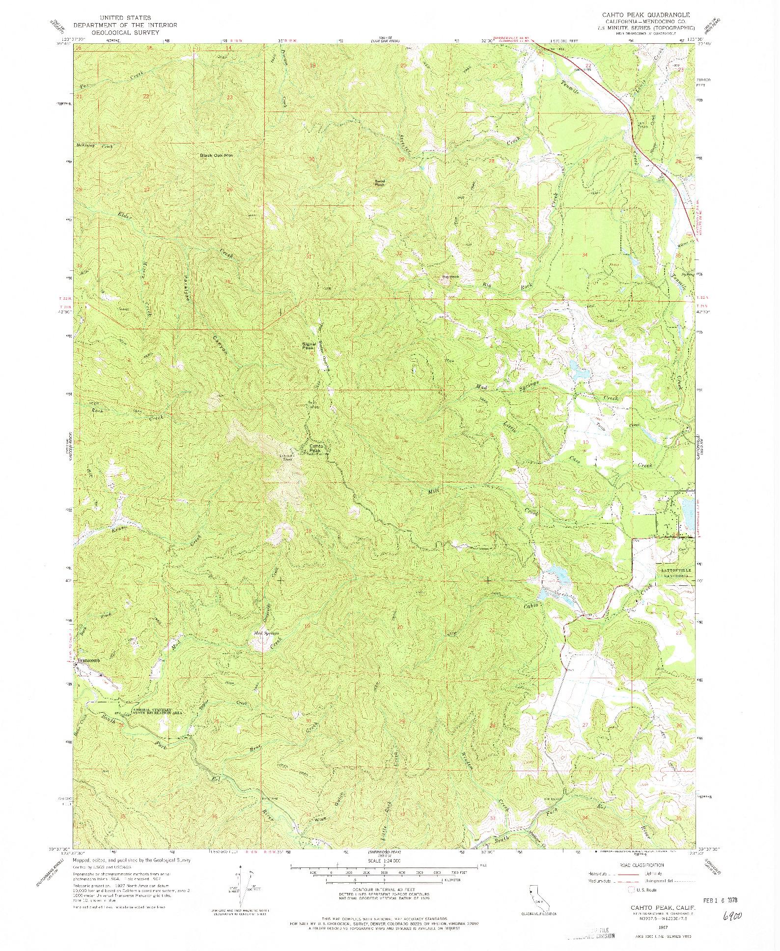 USGS 1:24000-SCALE QUADRANGLE FOR CAHTO PEAK, CA 1967