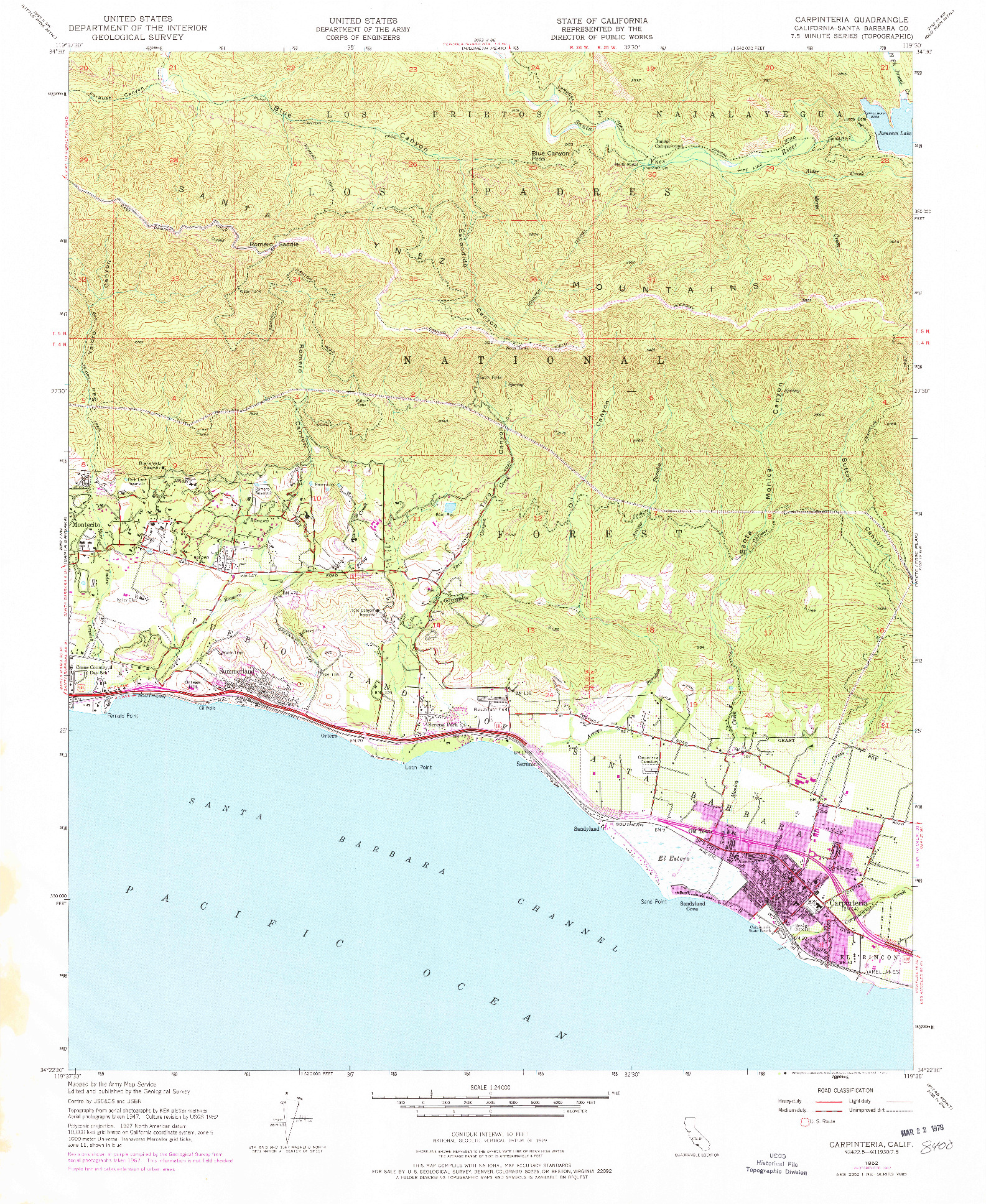 USGS 1:24000-SCALE QUADRANGLE FOR CARPINTERIA, CA 1952
