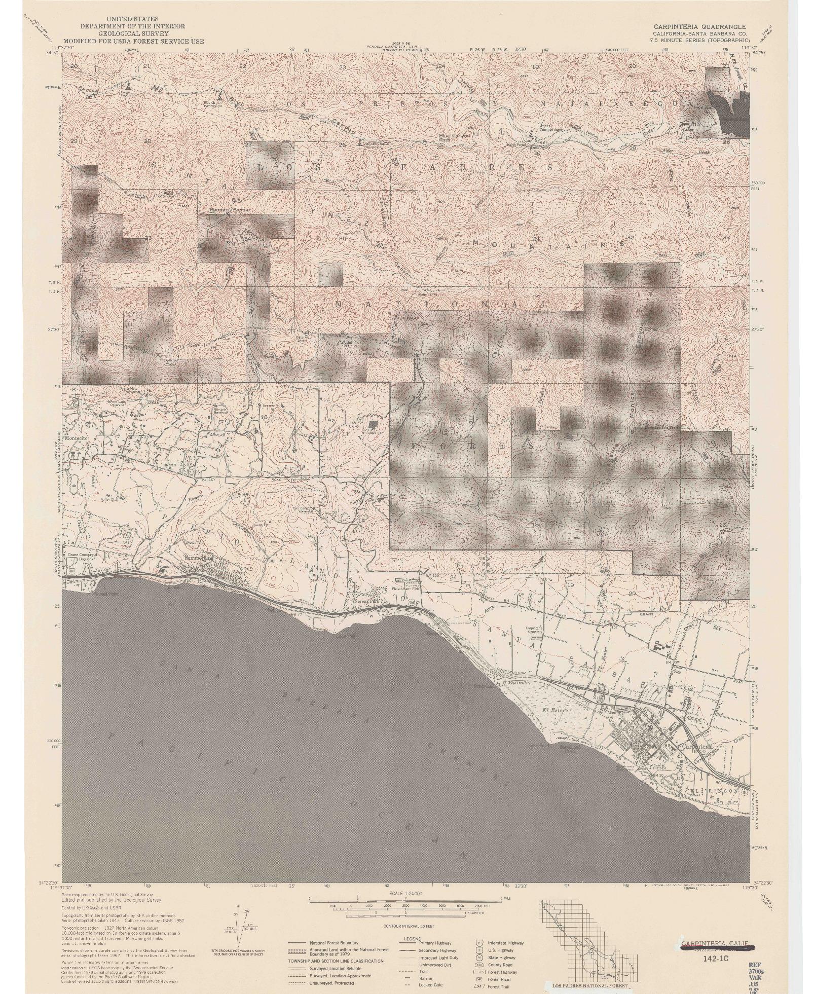 USGS 1:24000-SCALE QUADRANGLE FOR CARPINTERIA, CA 1977