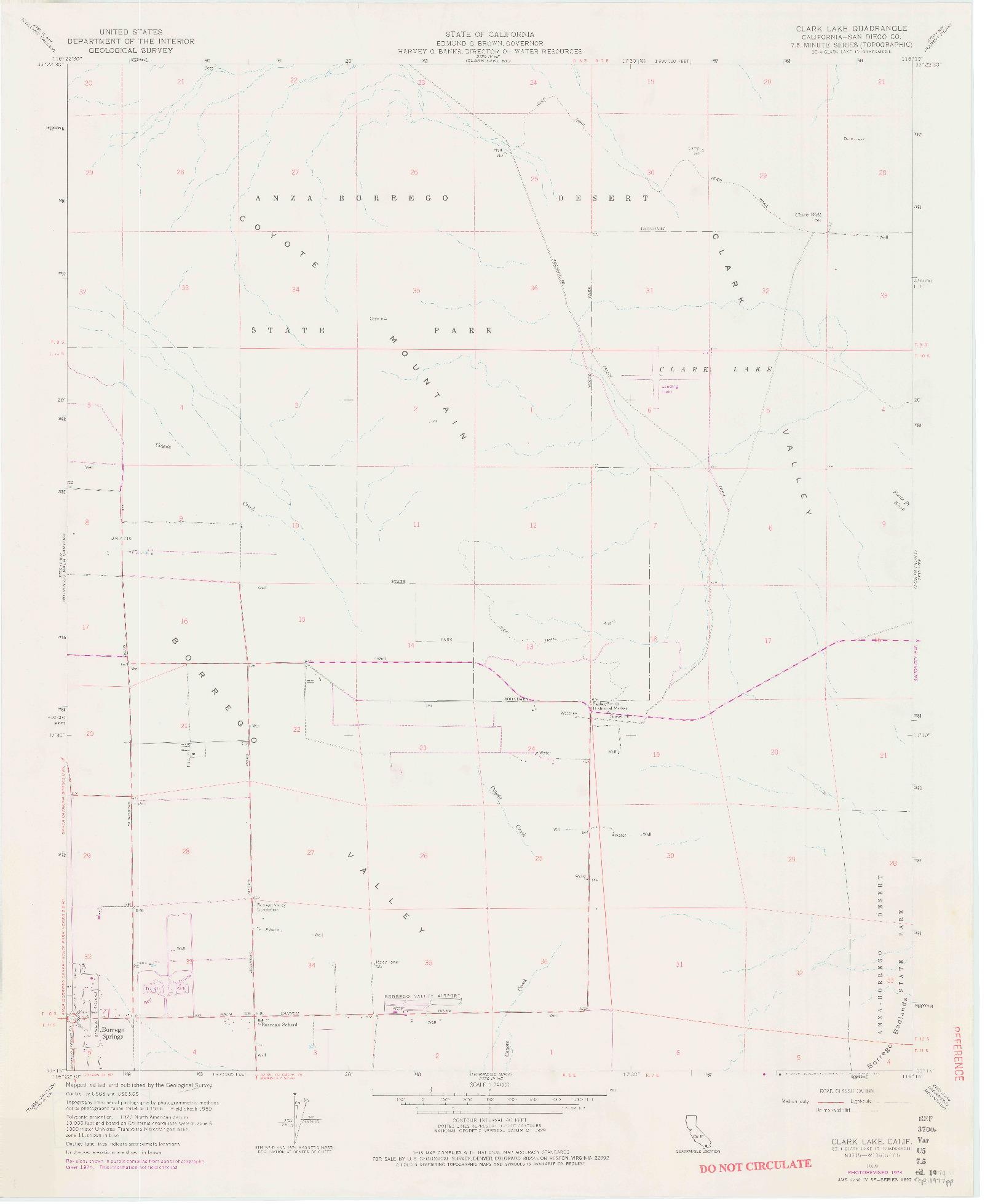 USGS 1:24000-SCALE QUADRANGLE FOR CLARK LAKE, CA 1959