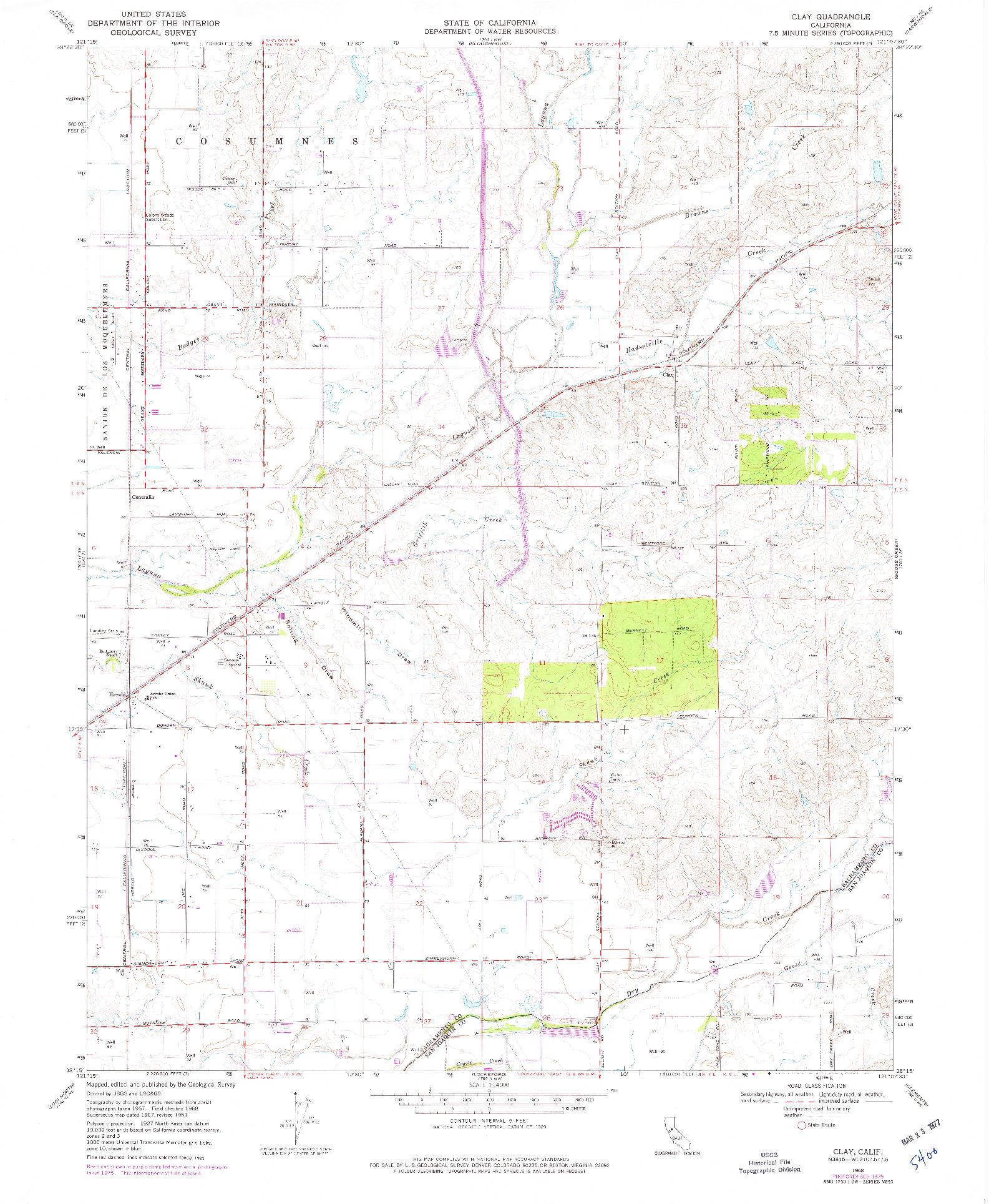 USGS 1:24000-SCALE QUADRANGLE FOR CLAY, CA 1968