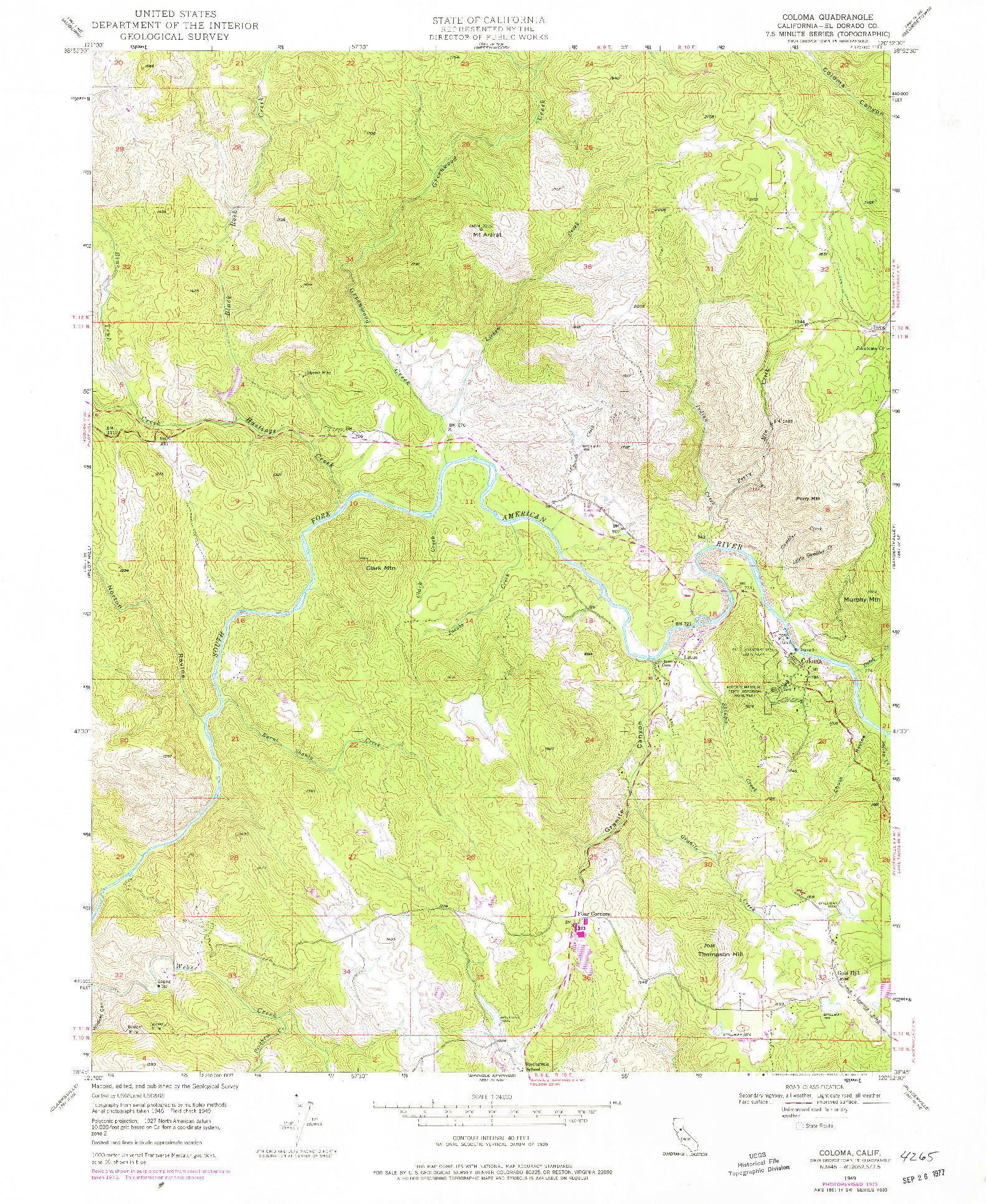 USGS 1:24000-SCALE QUADRANGLE FOR COLOMA, CA 1949