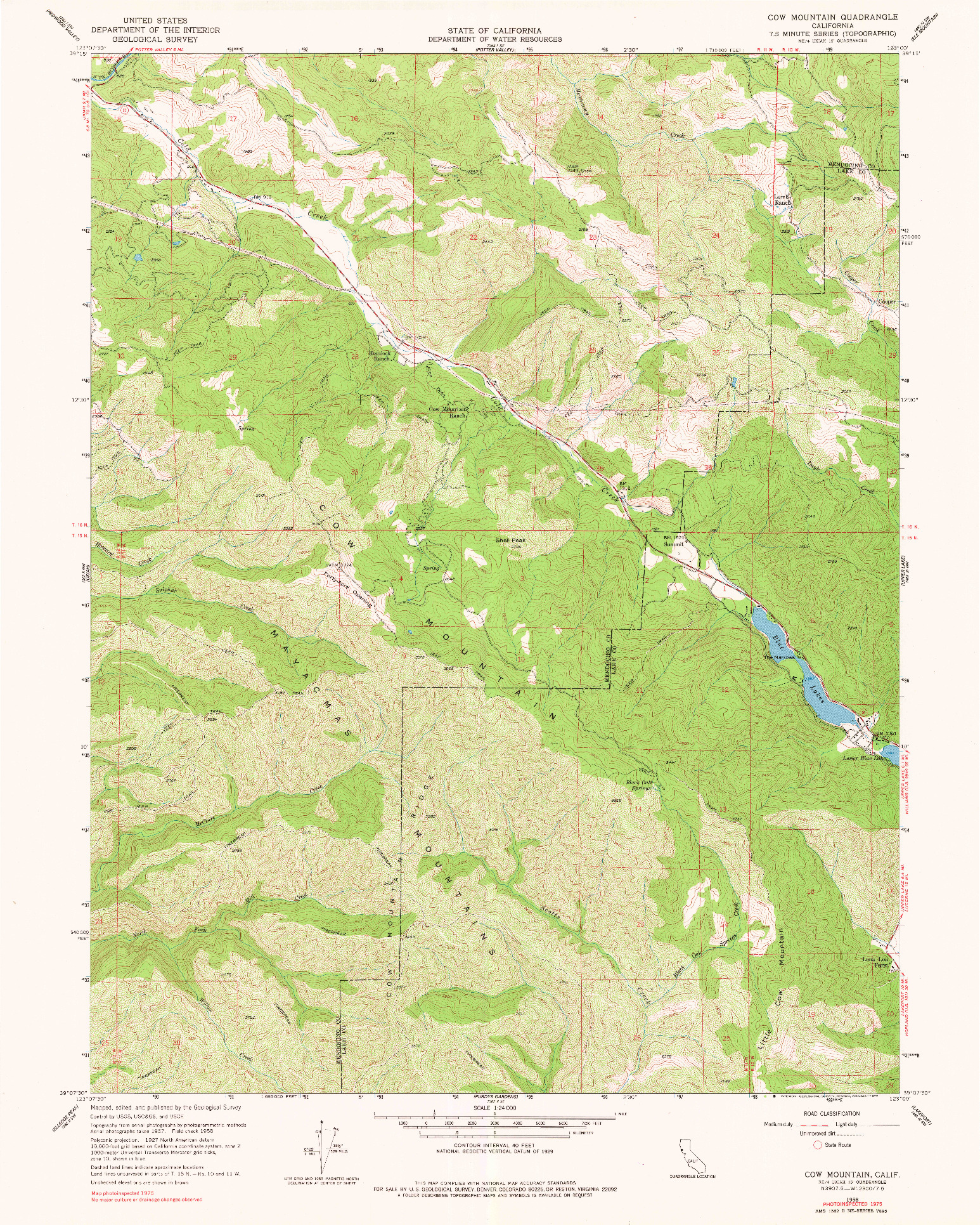 USGS 1:24000-SCALE QUADRANGLE FOR COW MOUNTAIN, CA 1958