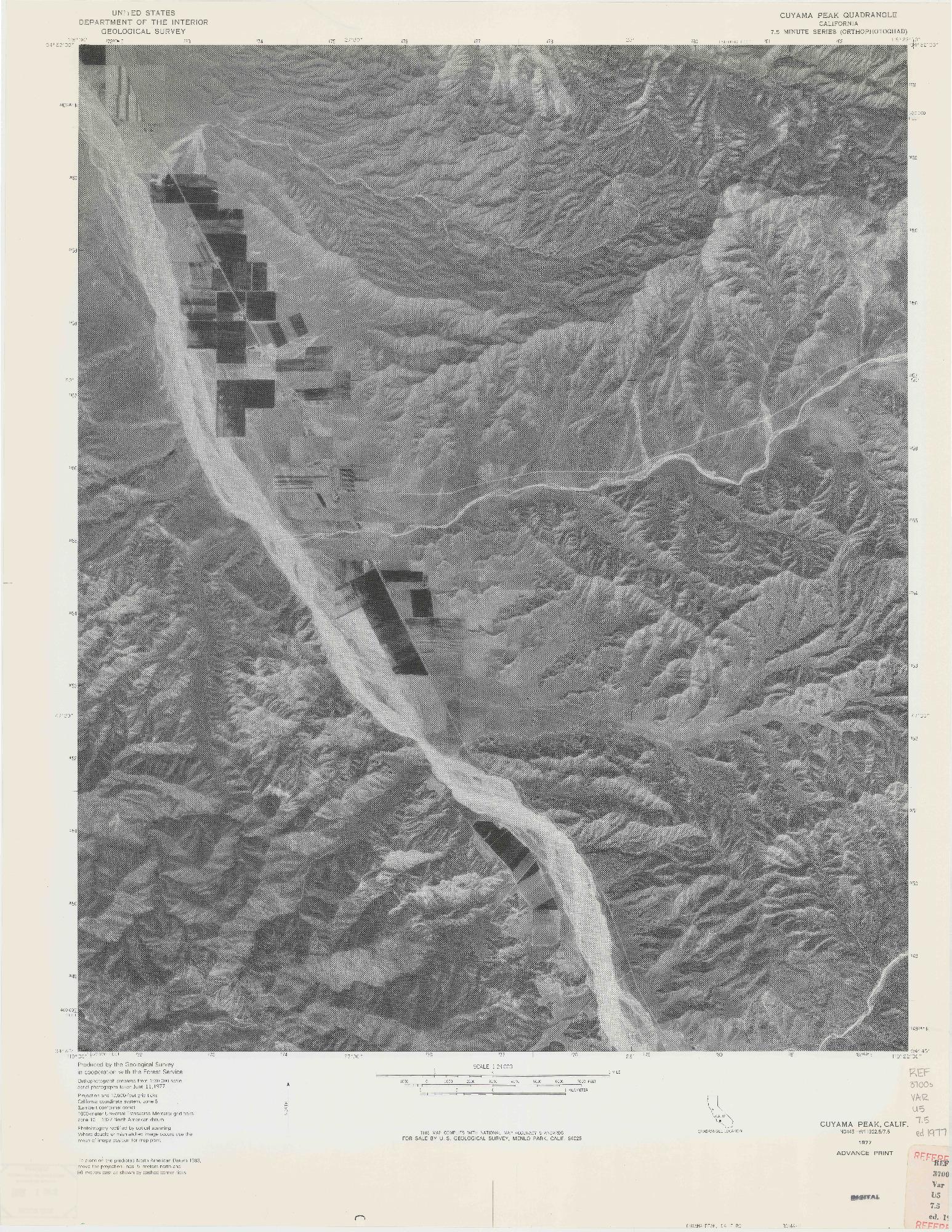 USGS 1:24000-SCALE QUADRANGLE FOR CUYAMA PEAK, CA 1977