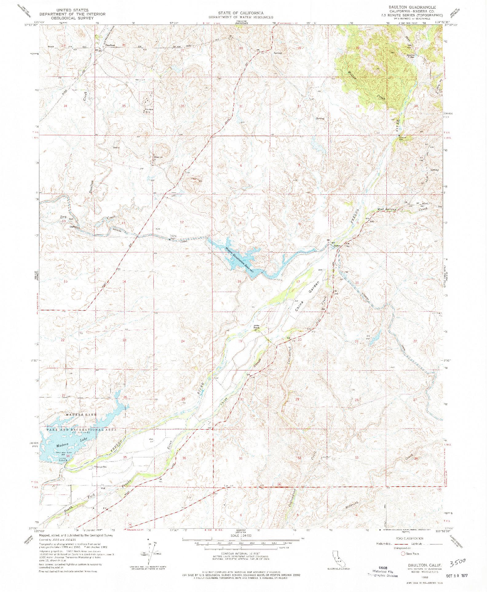 USGS 1:24000-SCALE QUADRANGLE FOR DAULTON, CA 1962