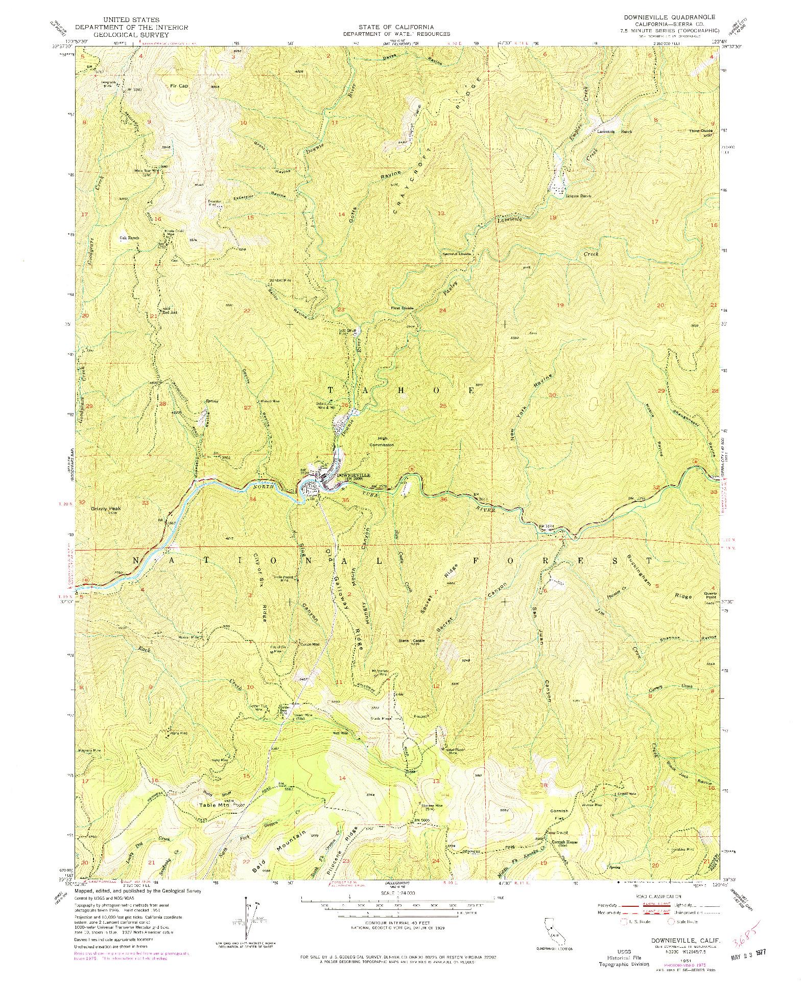 USGS 1:24000-SCALE QUADRANGLE FOR DOWNIEVILLE, CA 1951