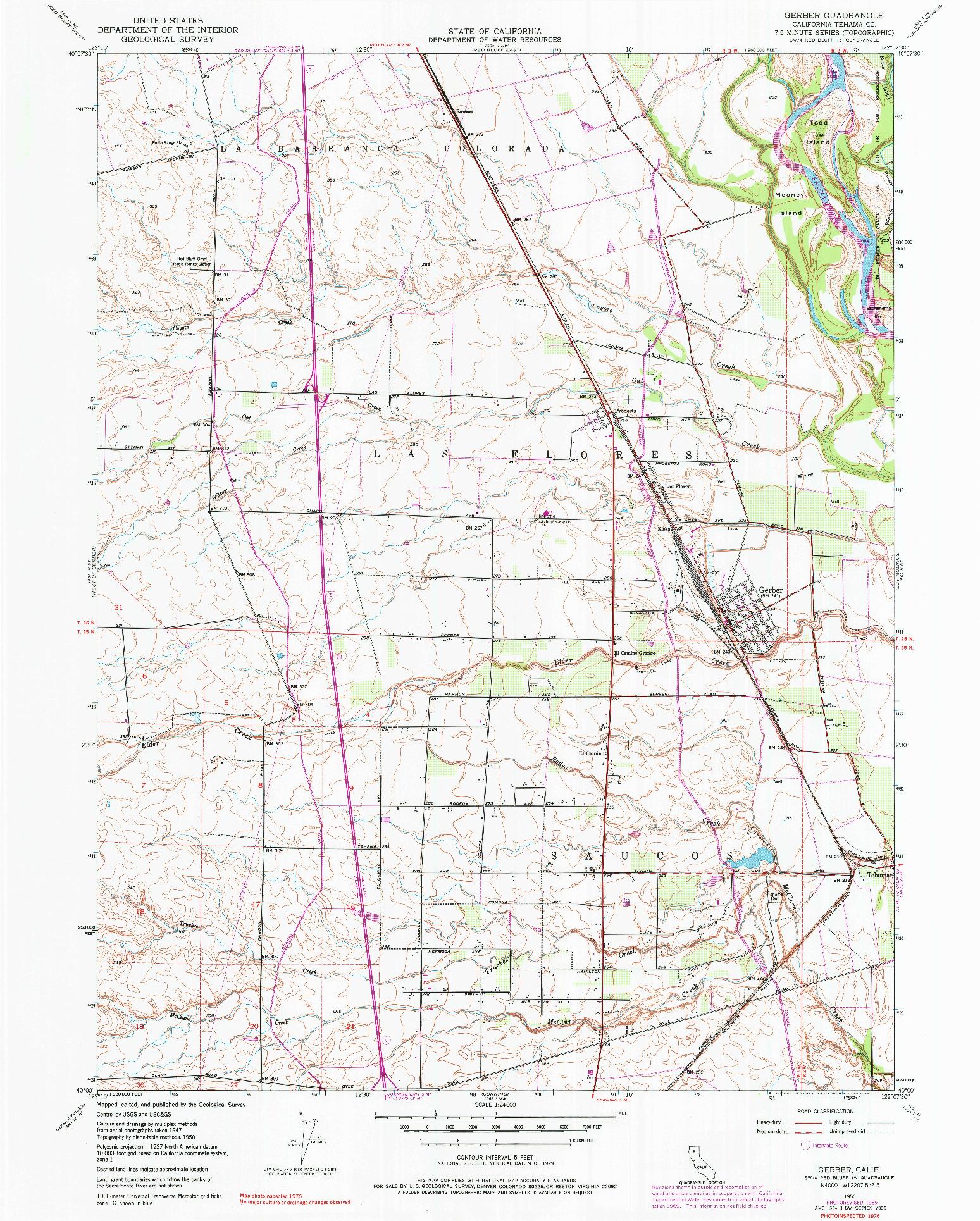 USGS 1:24000-SCALE QUADRANGLE FOR GERBER, CA 1950