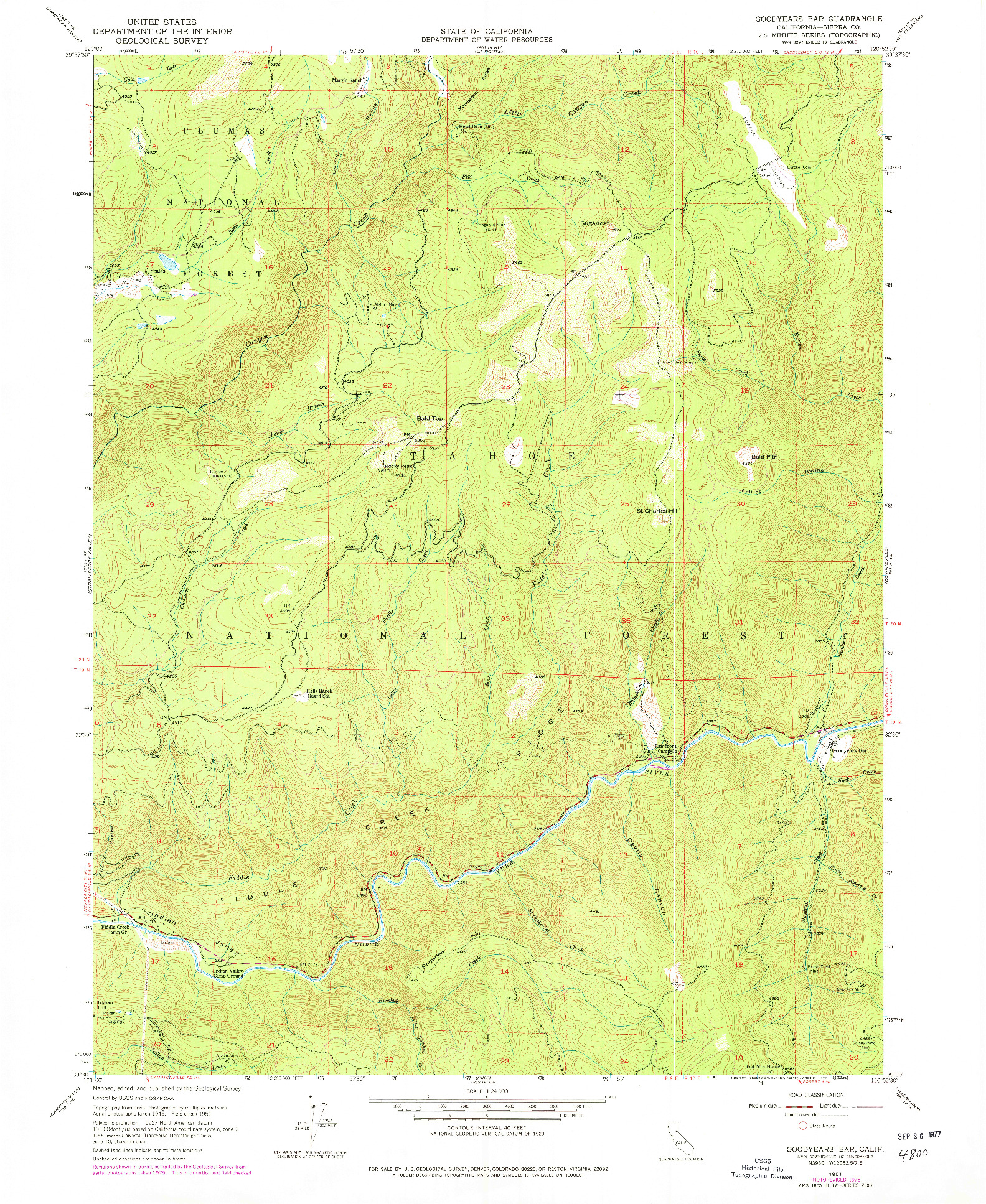 USGS 1:24000-SCALE QUADRANGLE FOR GOODYEARS BAR, CA 1951