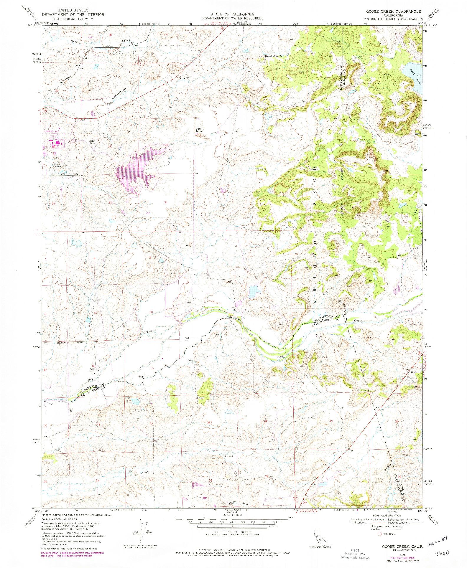 USGS 1:24000-SCALE QUADRANGLE FOR GOOSE CREEK, CA 1968