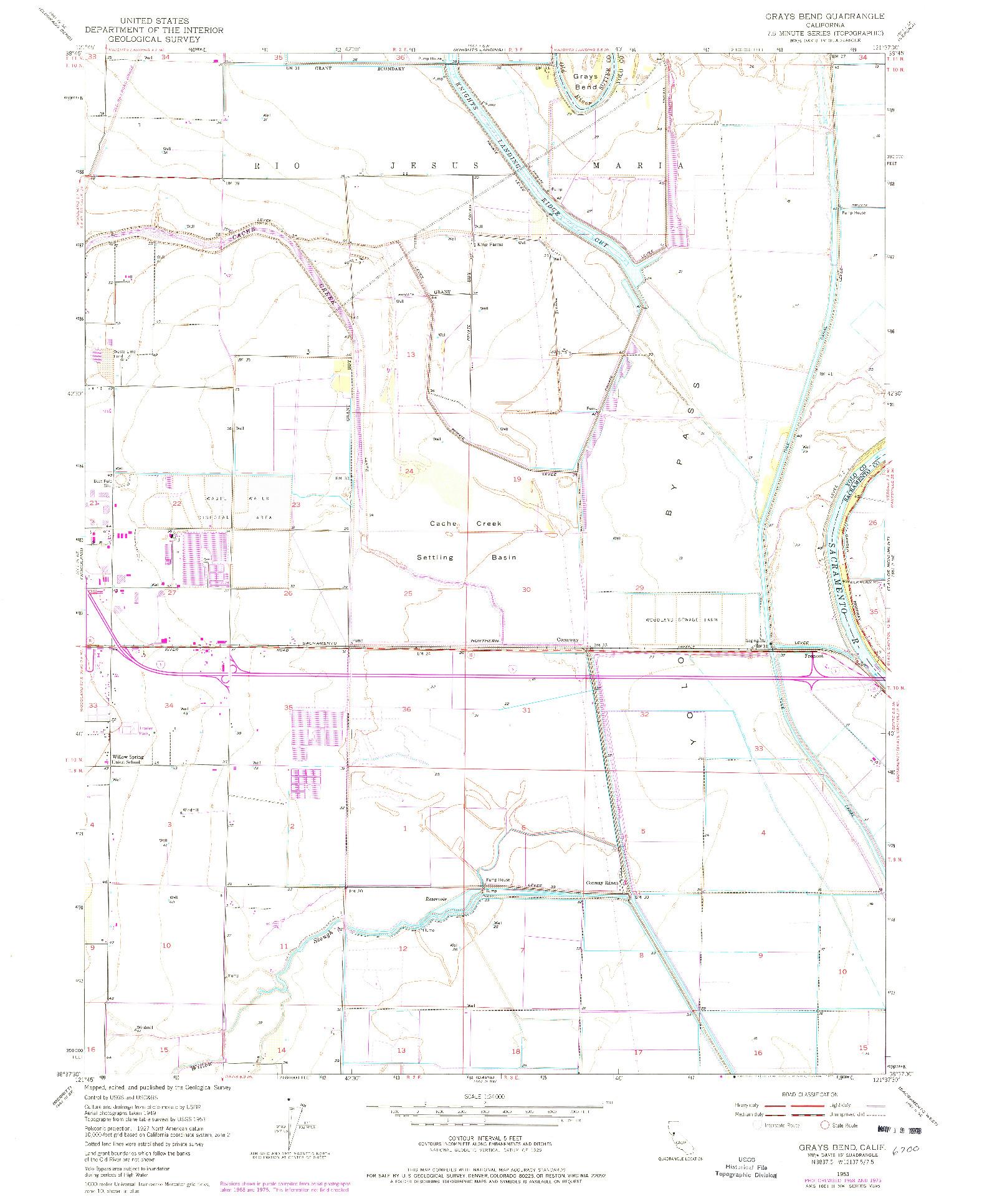 USGS 1:24000-SCALE QUADRANGLE FOR GRAYS BEND, CA 1953